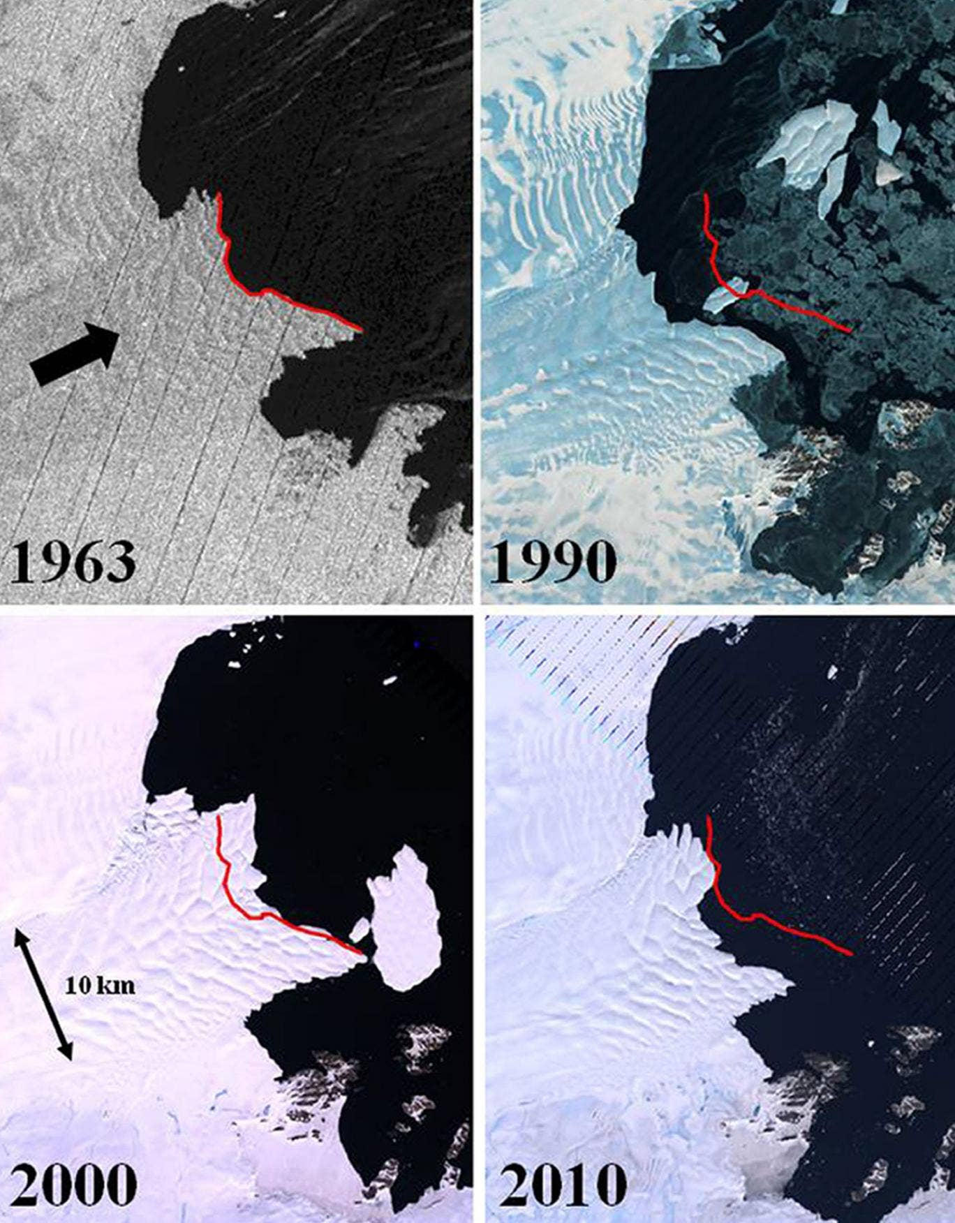 Satellite image composite (Vanderford Glacier, Wilkes Land) with the panels showing satellite imagery of Vanderford Glacier, Wilkes Land, East Antarctica
