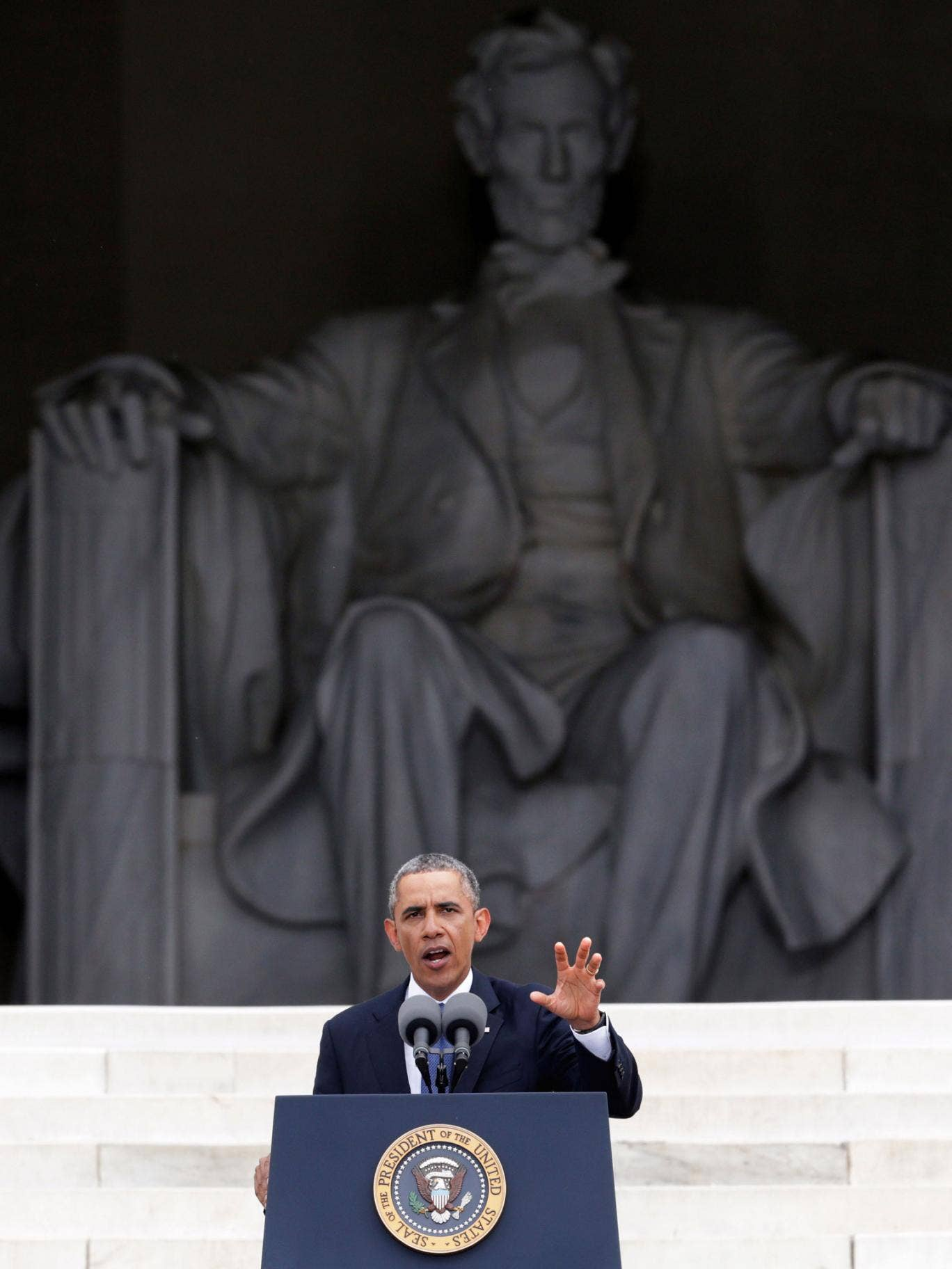 Barack Obama speaks during the Let Freedom Ring ceremony on the steps of the Lincoln Memorial