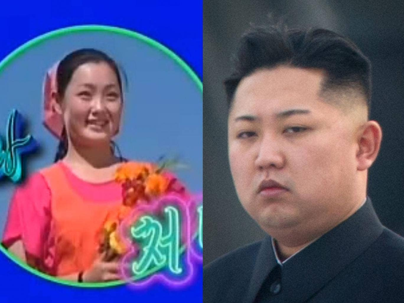North Korean dictator Kim Jong-un and his former lover Hyon Song-wol, as she appeared in a hit music video, who is reported to have been executed by firing squad