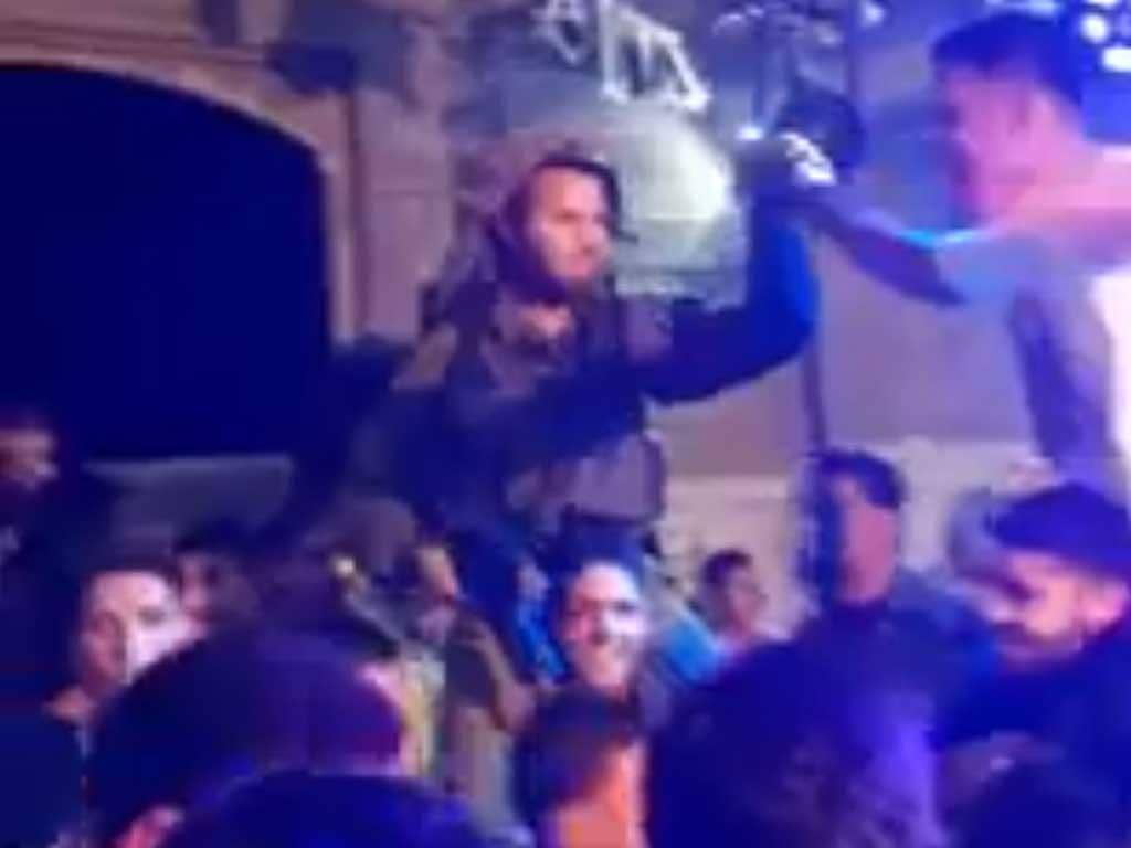 Israeli soldiers dance with Palestinians in Hebron