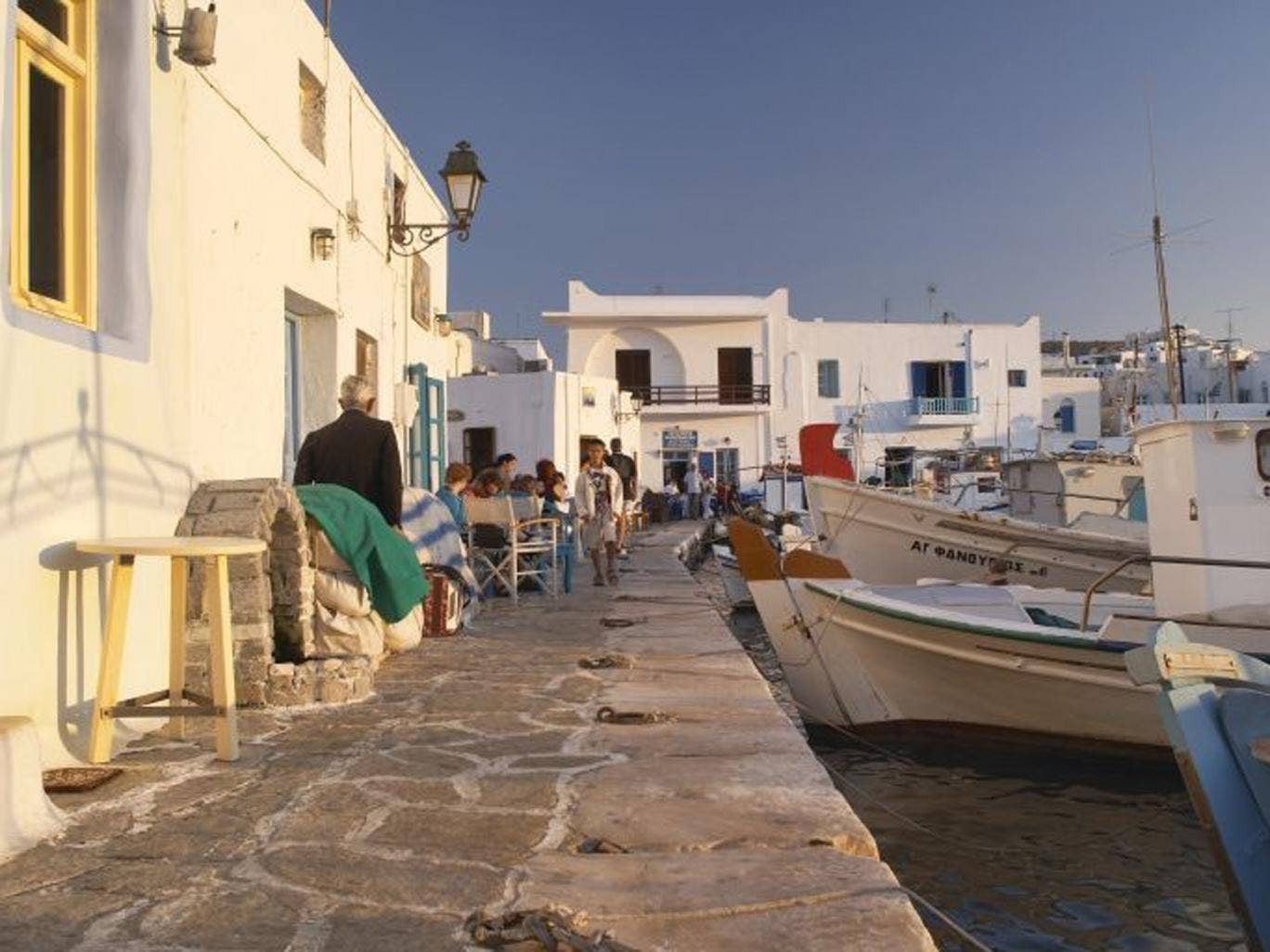 Sitting out on Paros's harbour