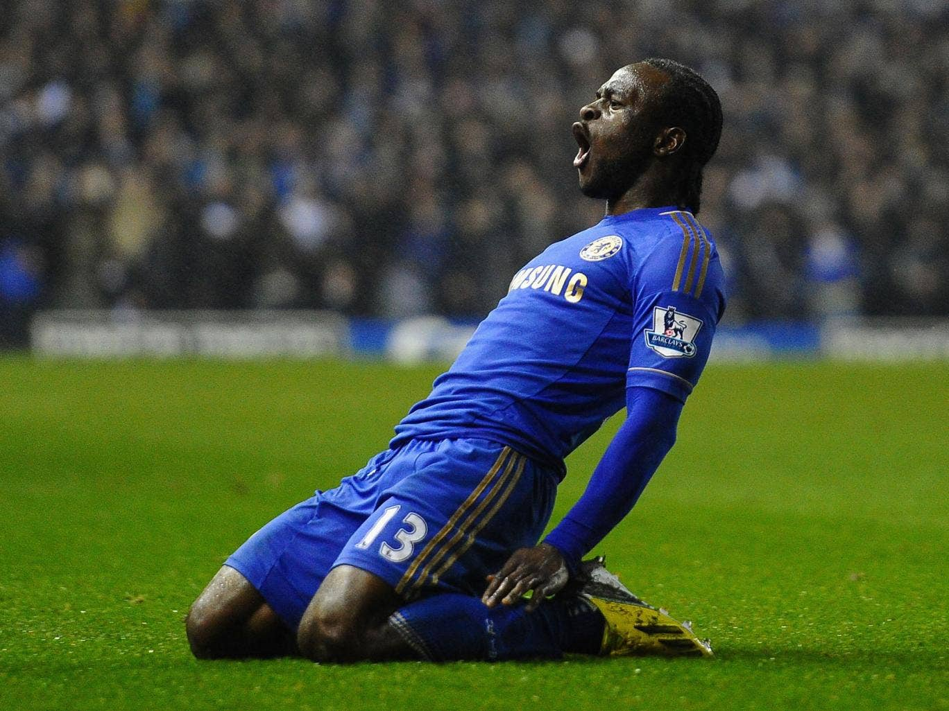 Victor Moses of Chelsea celebrates scoring his team's third goal