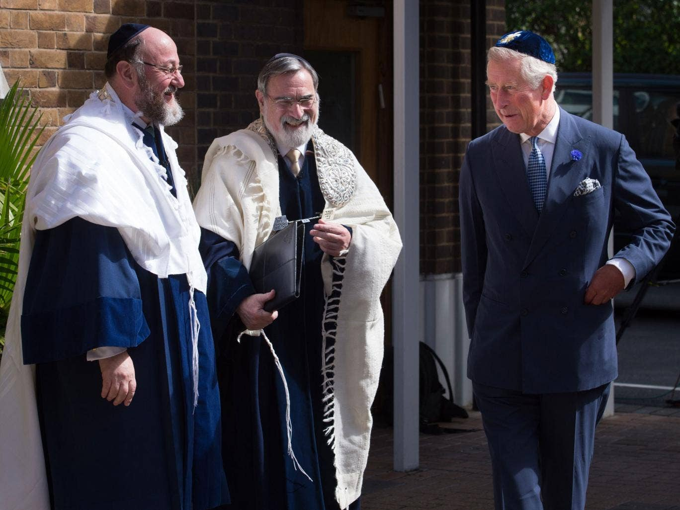 The Prince of Wales with Chief Rabbi Ephraim Mirvis, far left, and his predecessor, Lord Jonathan Sacks, at the induction ceremony