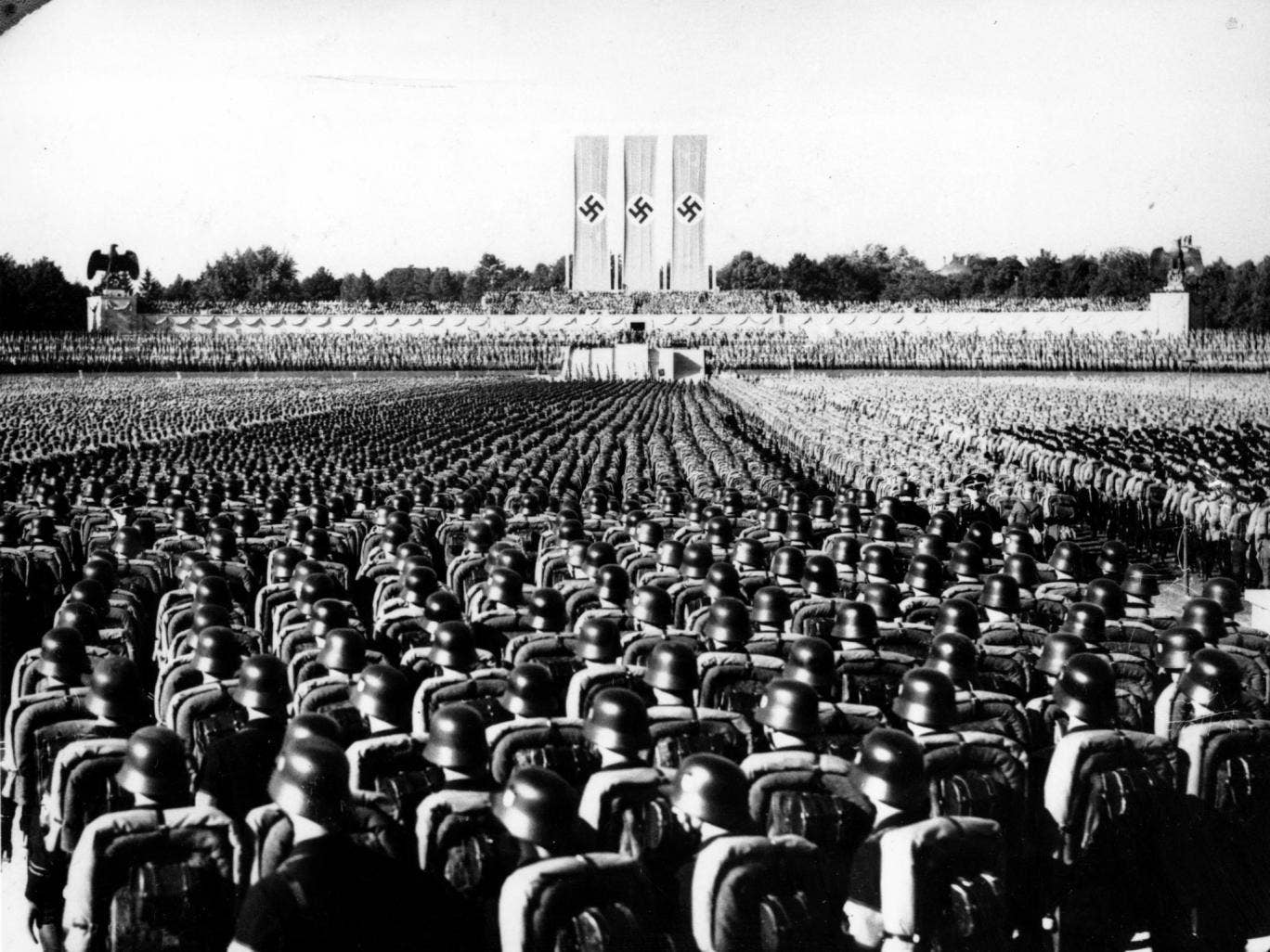 Nearly 100,000 Nazi storm troopers are gathered at Luitpold arena to listen to a speech by Adolf Hitler on 'Brown Shirt Day'