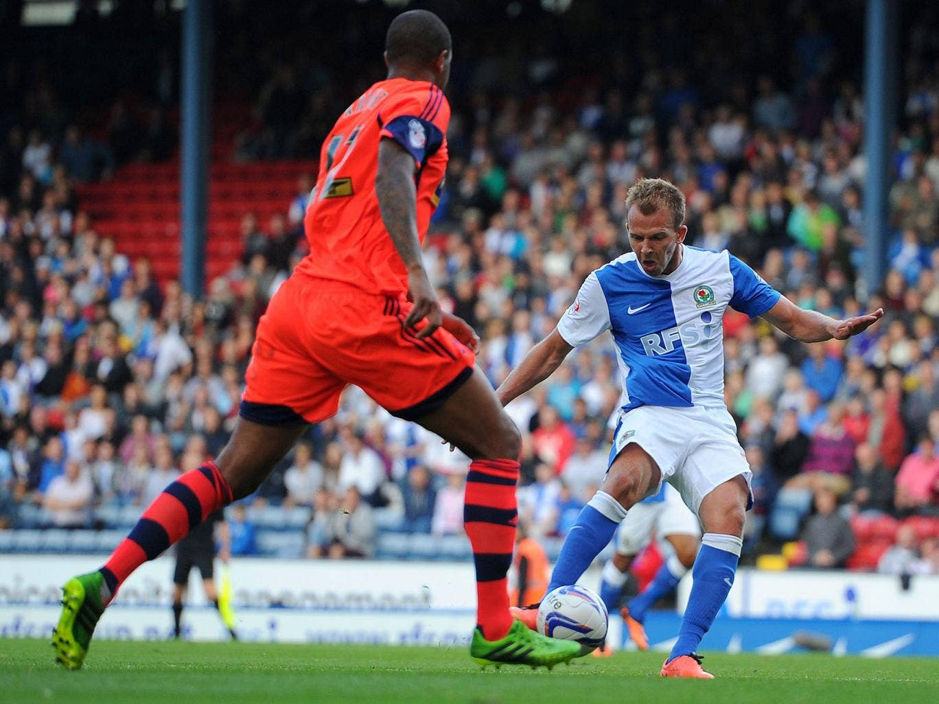 Jordan Rhodes scores the first of his two goals on Saturday