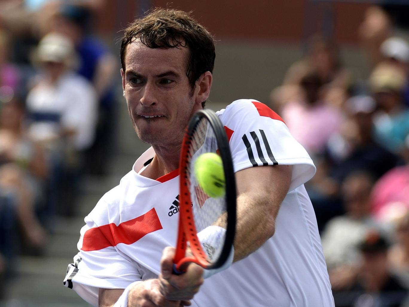 Andy Murray hits a return during his win over Florian Mayer