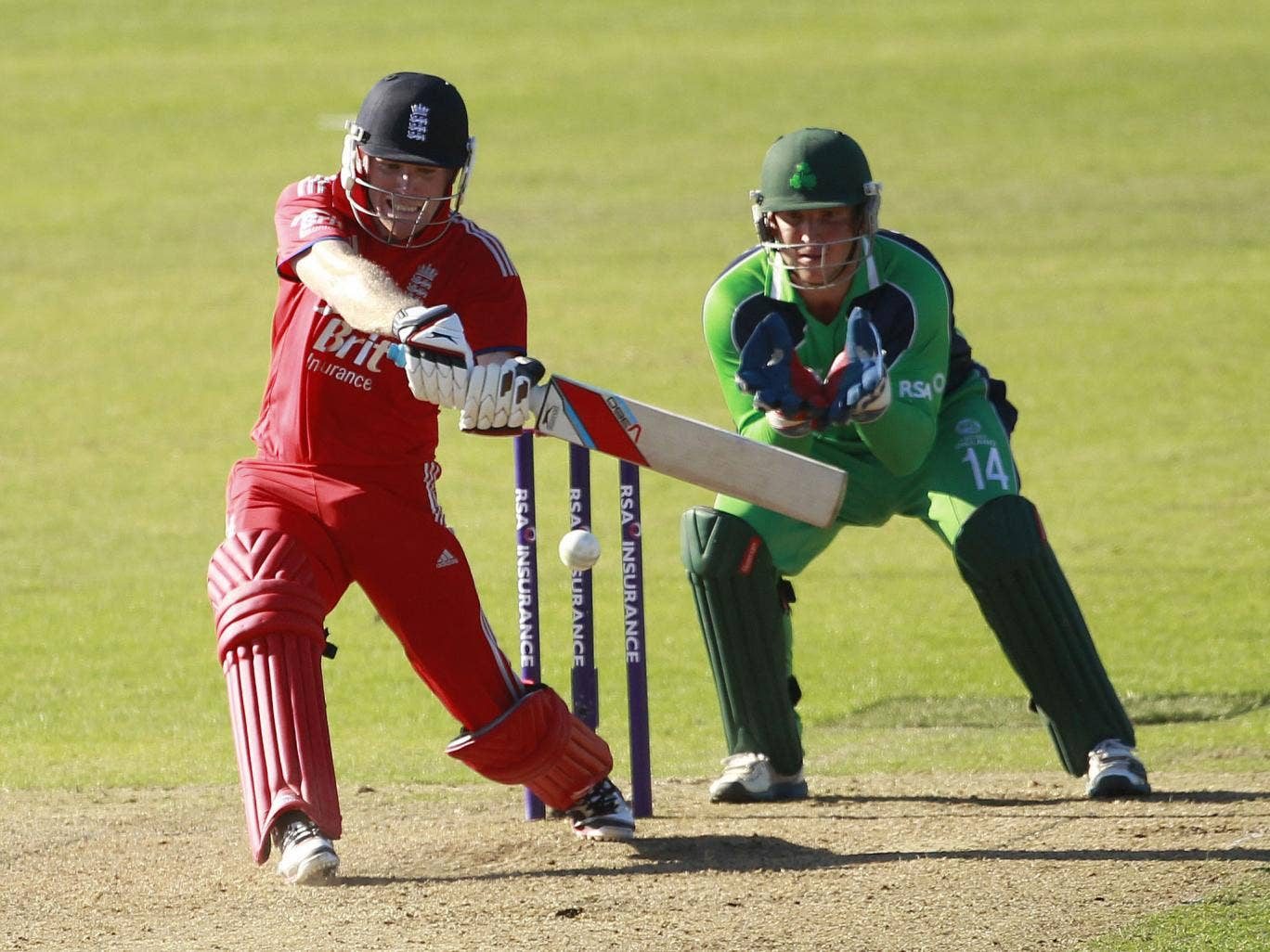 Eoin Morgan smashes another six on the way to an impressive century at Malahide