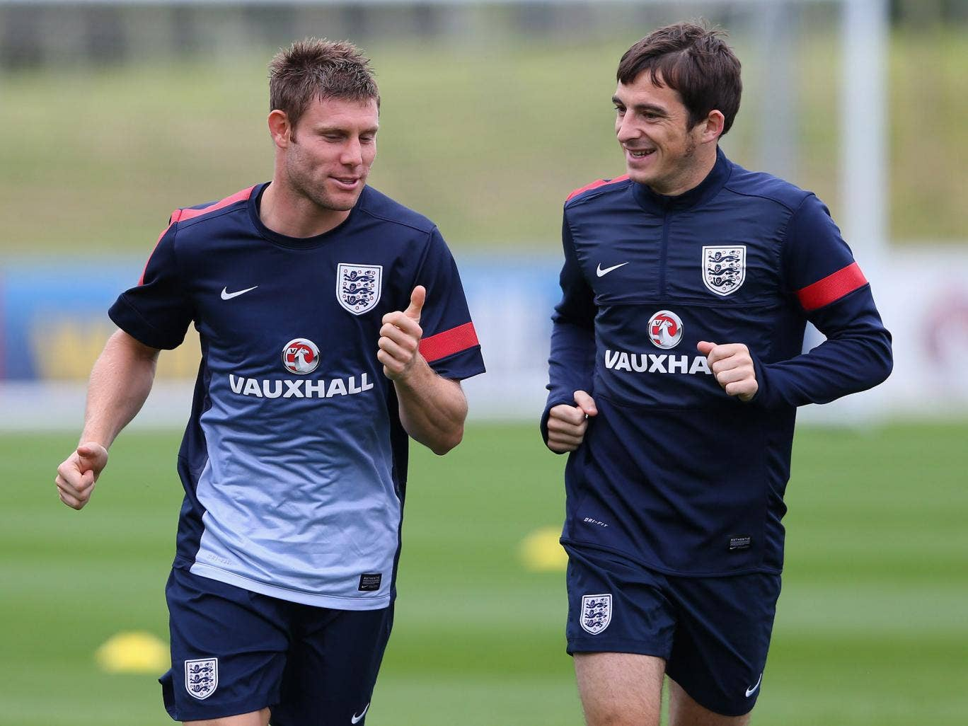 James Milner and Leighton Baines train with England