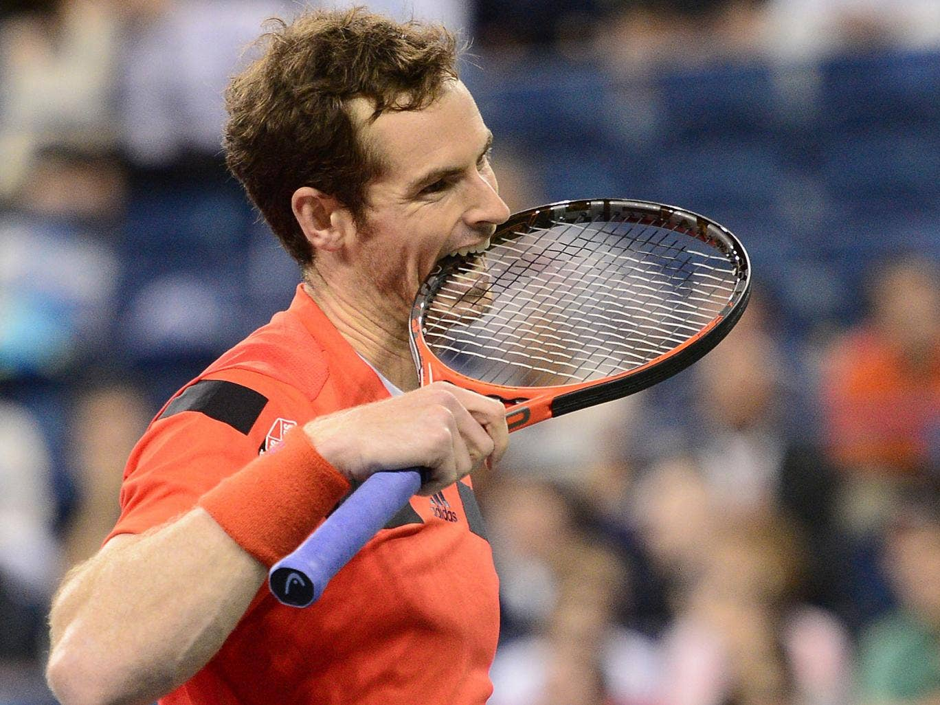 Andy Murray shows his frustration during his win over Denis Istomin