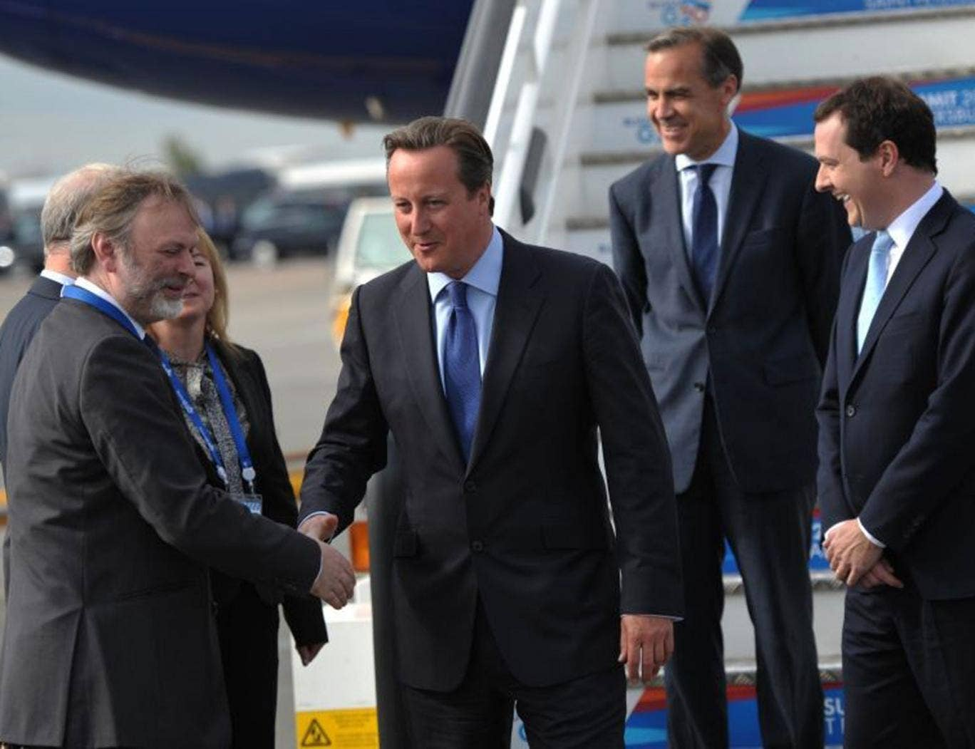 David Cameron, George Osborne, and Mark Carney arrive at the G20 summit in St. Petersburg