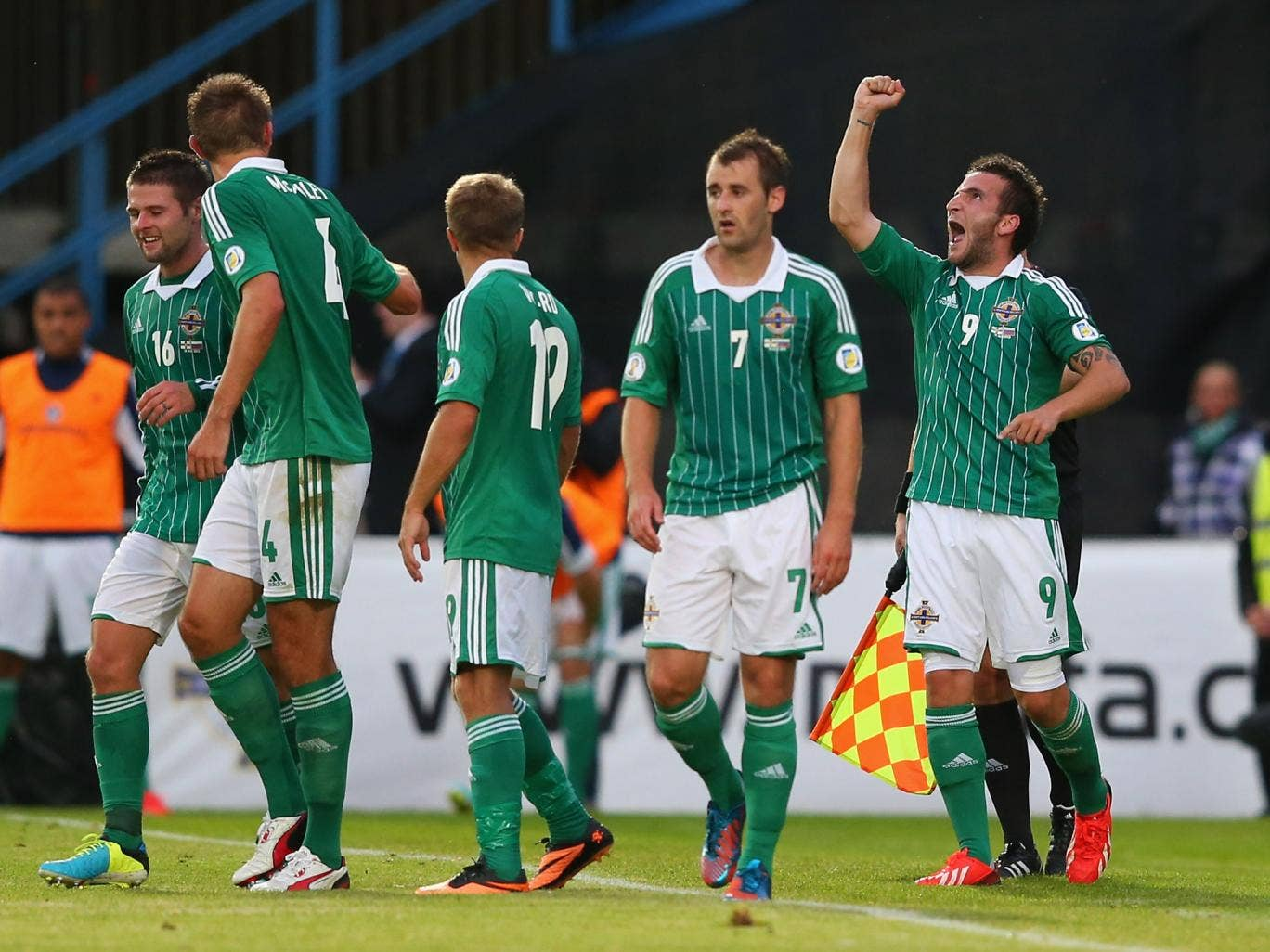 Martin Paterson celebrates for Northern Ireland after scoring against Russia