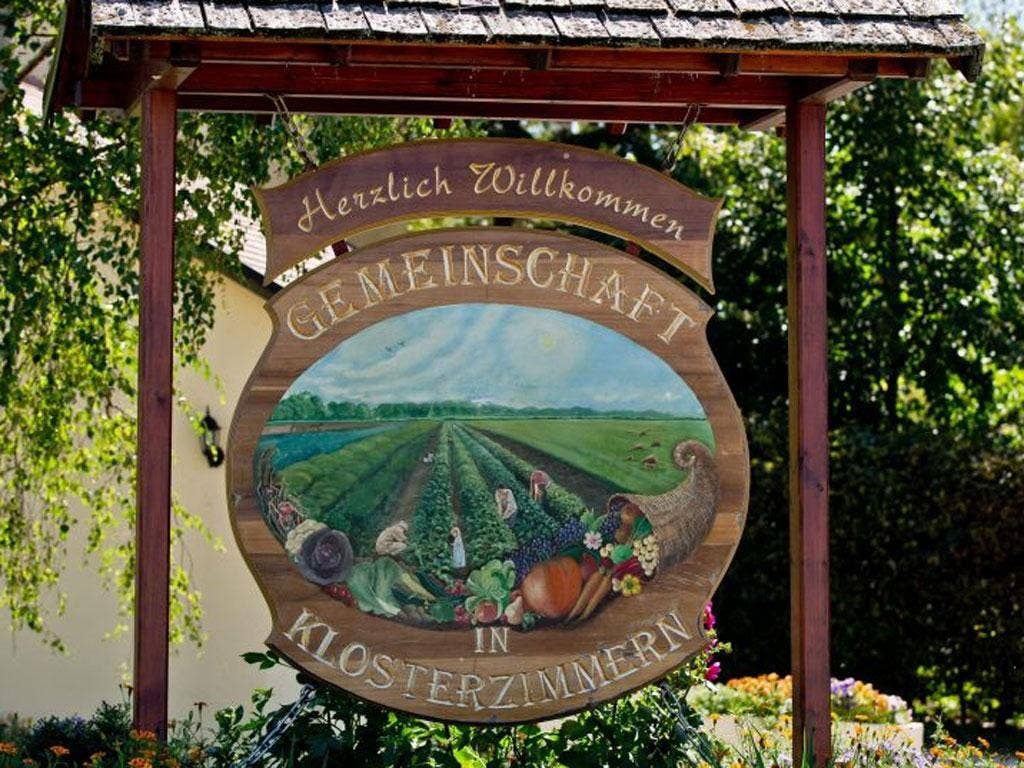 A welcome sign at Twelve Tribes' property in Klosterzimmern