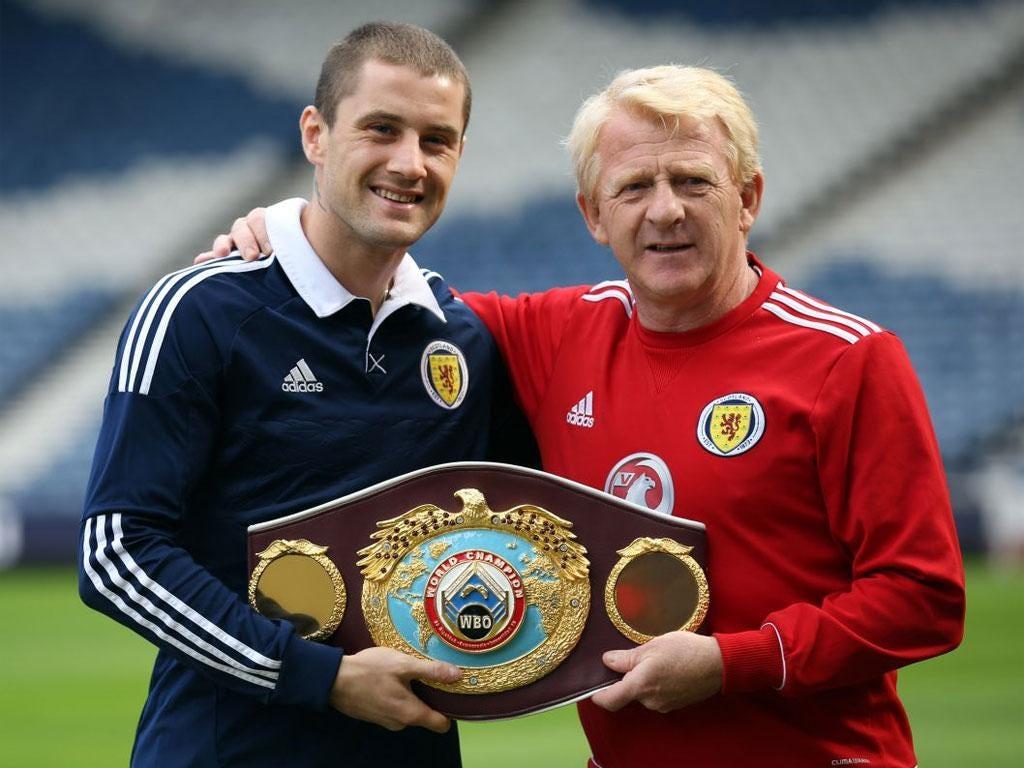 Ricky Burns (left) with Scotland manager Gordon Strachan at Hampden Park on Thursday