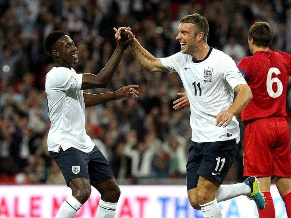 <p>RICKIE LAMBERT</p>  <p>The dream goes on. A poacher's goal to add to that header against Scotland and two assists as well. 7</p>