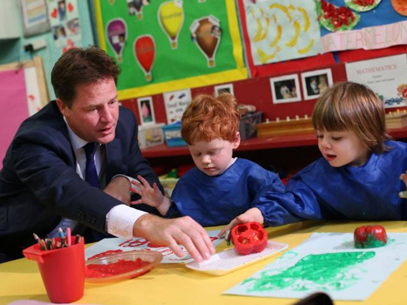 Learning curve: Nick Clegg at the Mace Montessori nursery in London last week