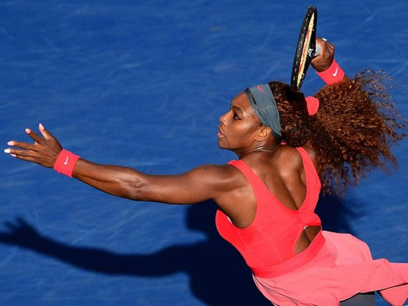 Pink lady: Serena Williams has not lost a set in the US Open and is the clear favourite to win today's final