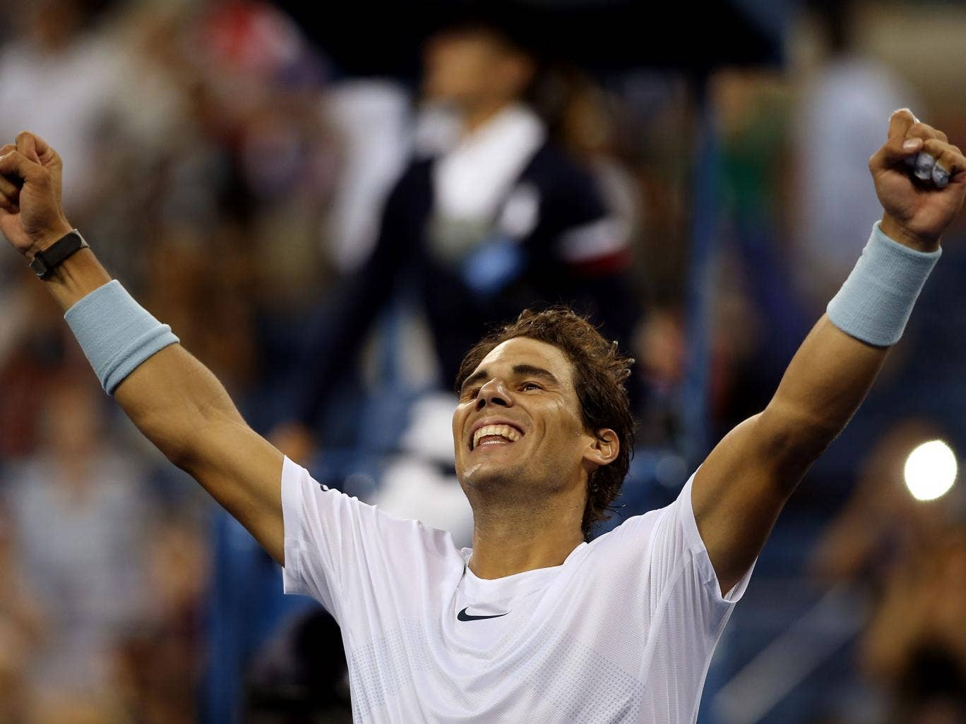 Rafael Nadal celebrates reaching the US Open final where he will face world No 1 Novak Djokovic