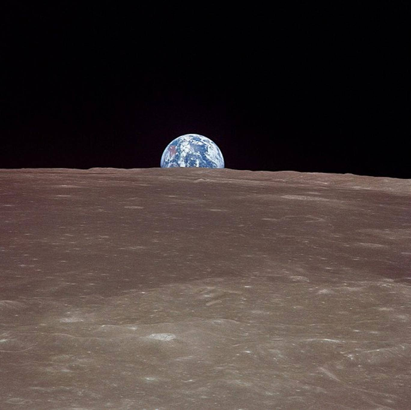 This image taken 20 July 1969 from Apollo 11 shows the Earth rising over the limb of the moon much as the Harvest Moon does from our planetary perspective. Over the stark, scarred surface of the moon, the Earth floats in the void of space, a watery jewel
