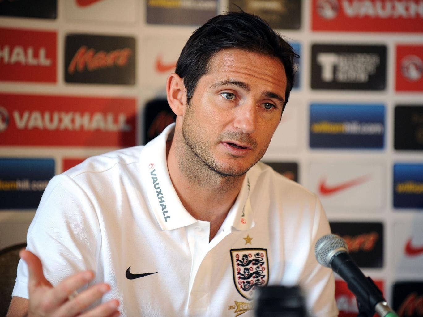 Frank Lampard speaking to the media in advance of a likely 100th England cap