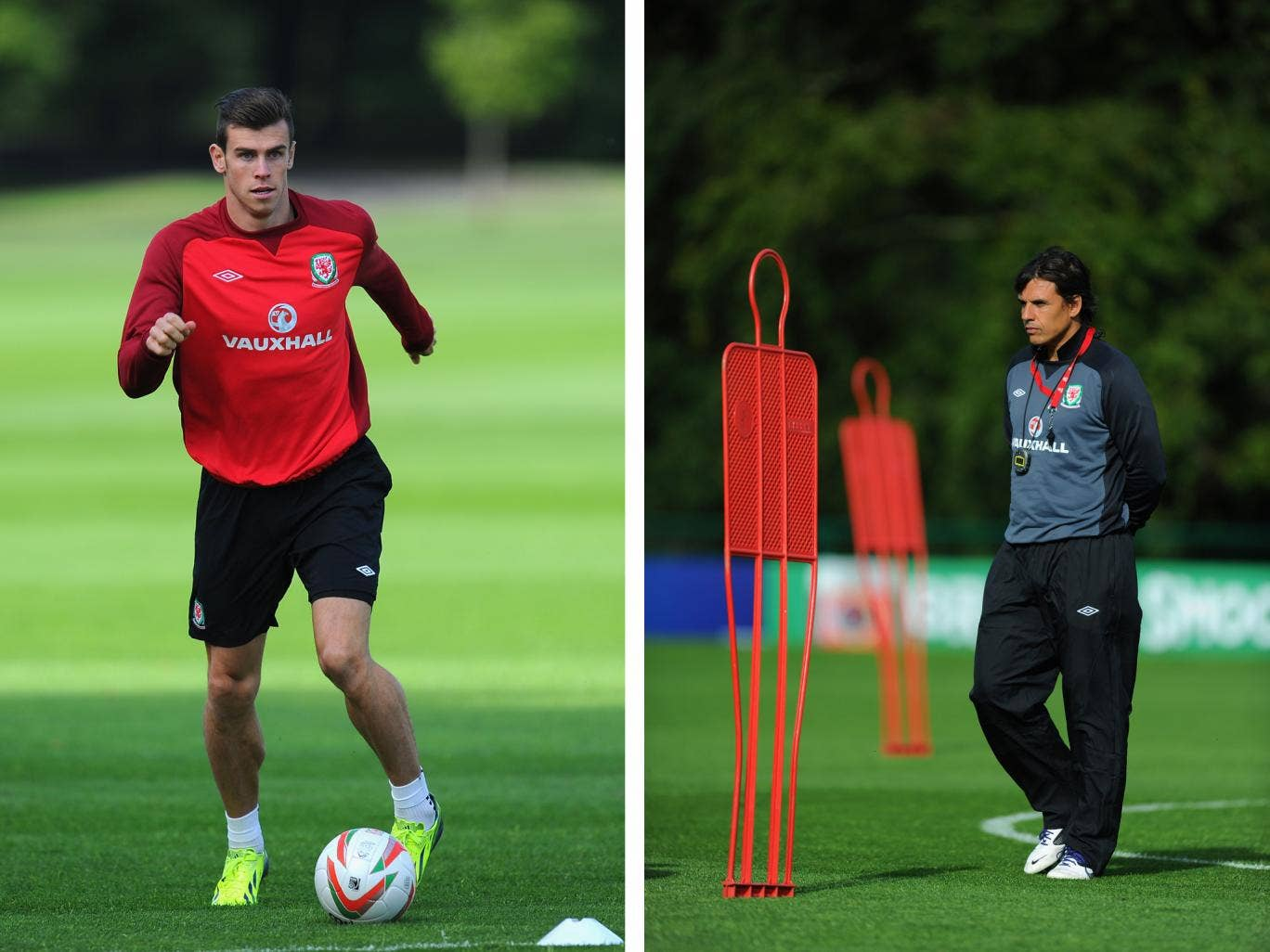 Gareth Bale (L) in training and Wales boss Chris Coleman (R)