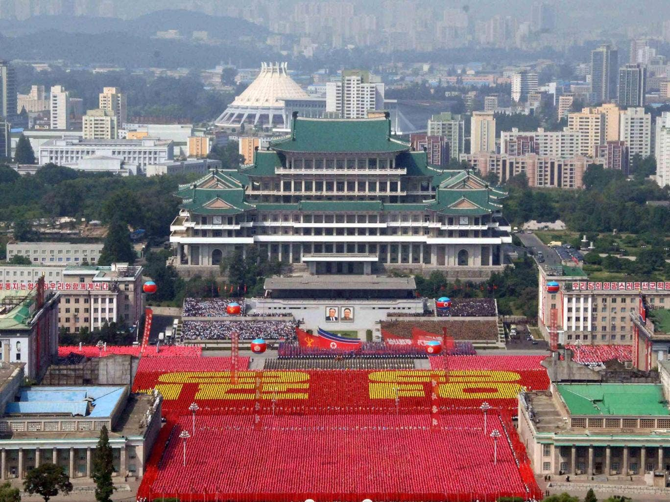 A parade of the Worker-Peasant Red Guards and a mass rally in Pyongyang in celebration of the 65th anniversary of North Korea