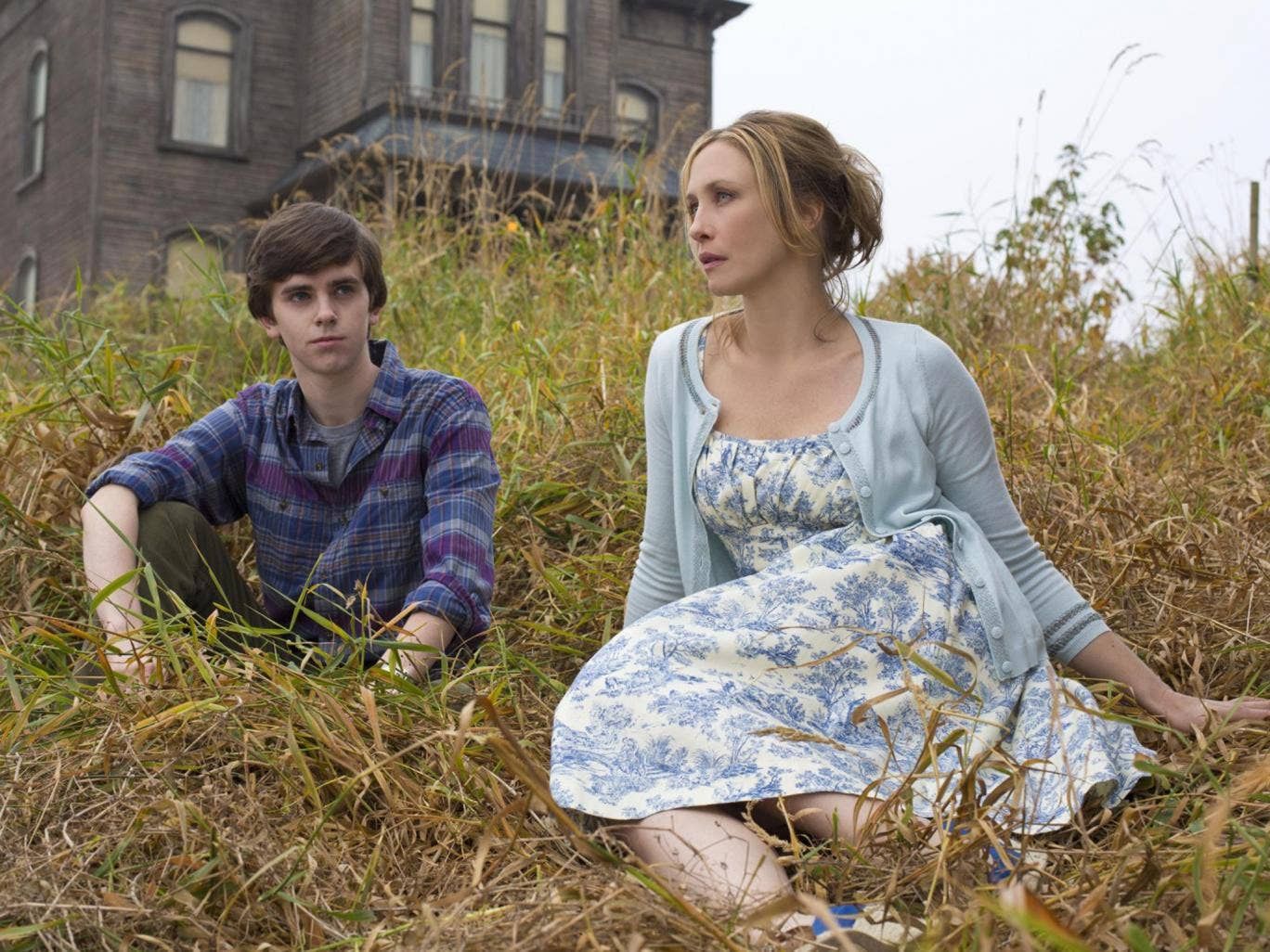 Too close for comfort: Freddie Highmore as Norman Bates and Vera Farmiga as his mother, Norma, in 'Bates Motel'