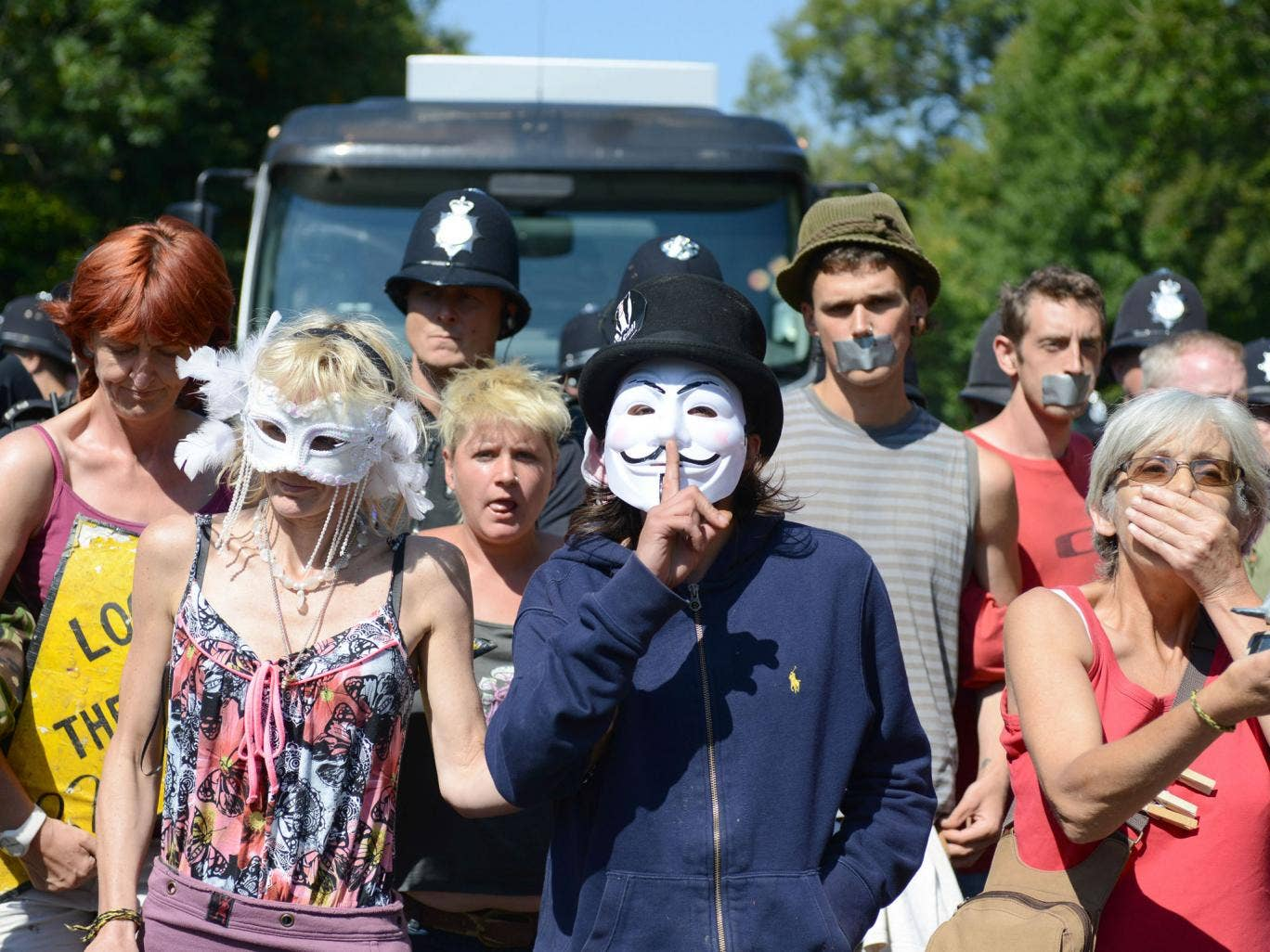Protesters at Balcombe, Sussex