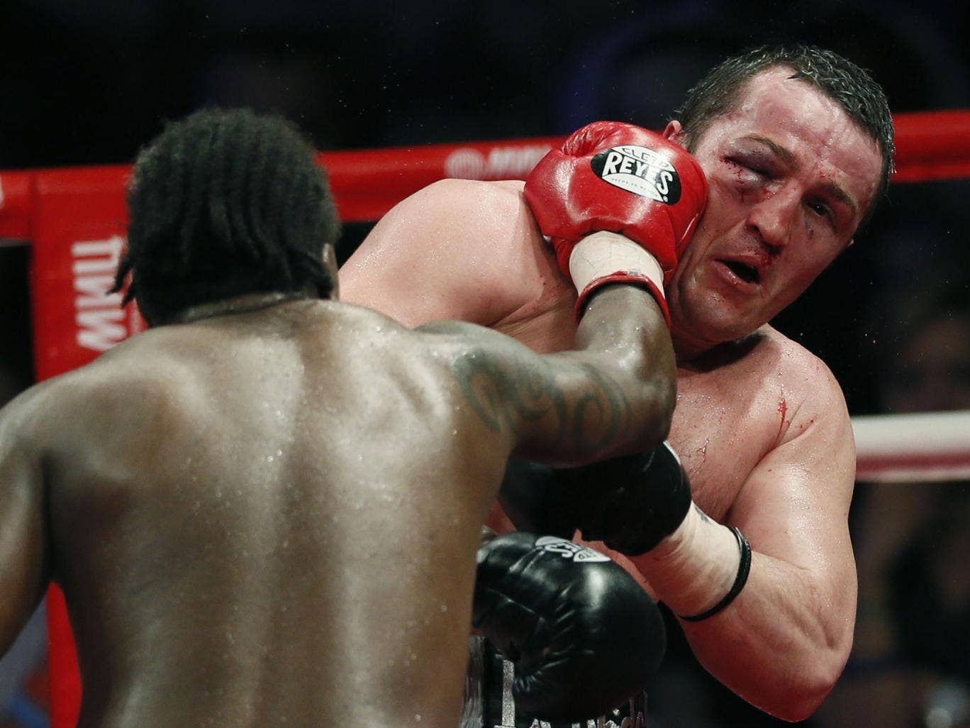 A suffering Denis Lebedev on the end of another punishing blow from Guillermo Jones in May