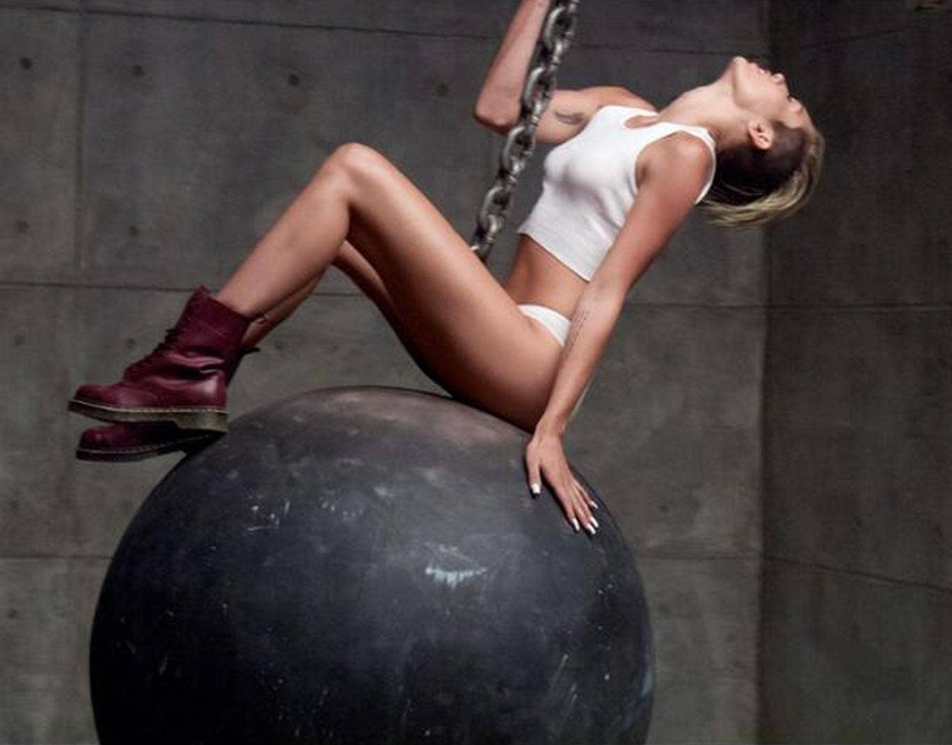 Miley Cyrus in the controversial video for 'Wrecking Ball'