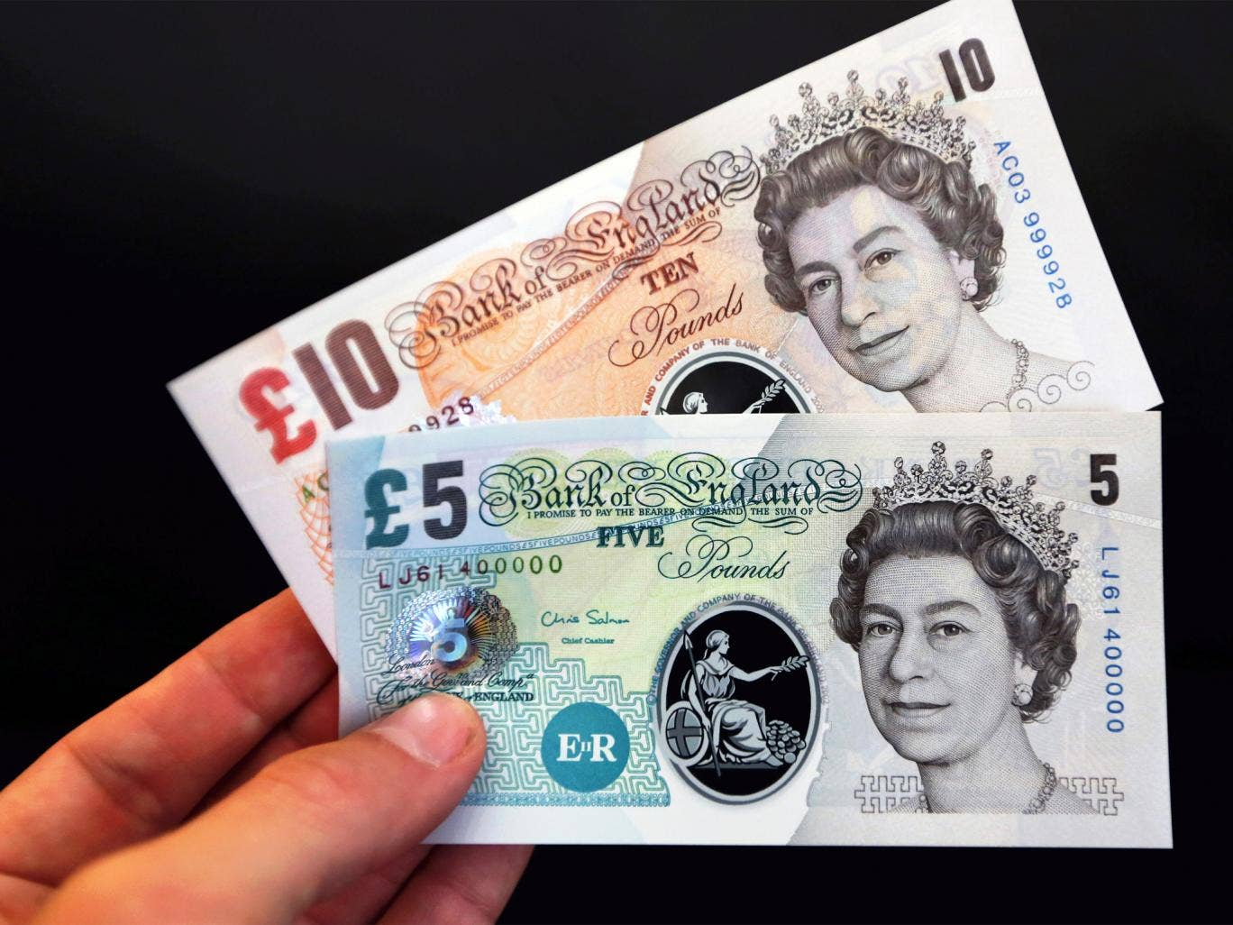 Sample polymer ten and five pound banknotes