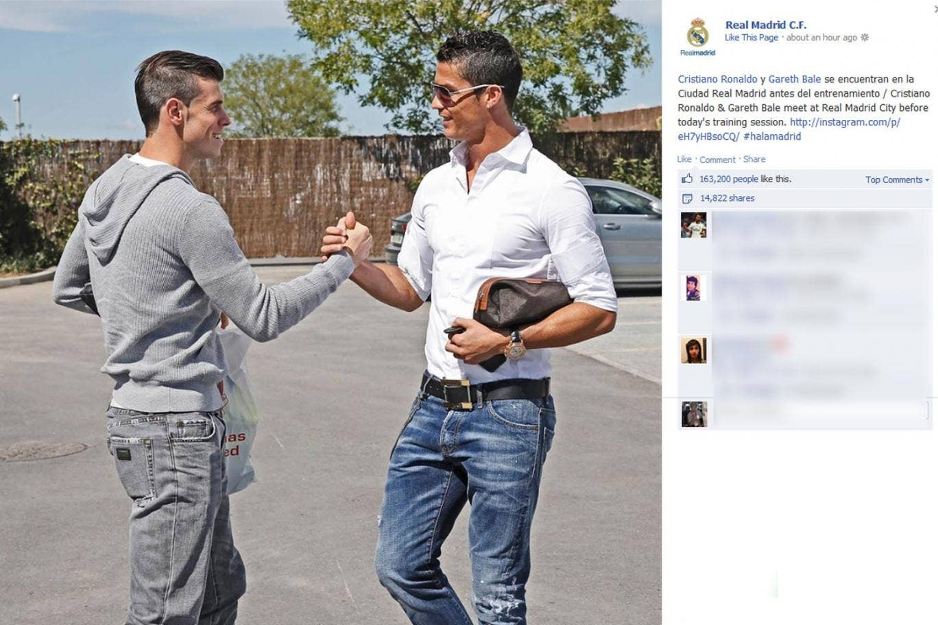 Gareth Bale and Cristiano Ronaldo pictured meeting at Real Madrid