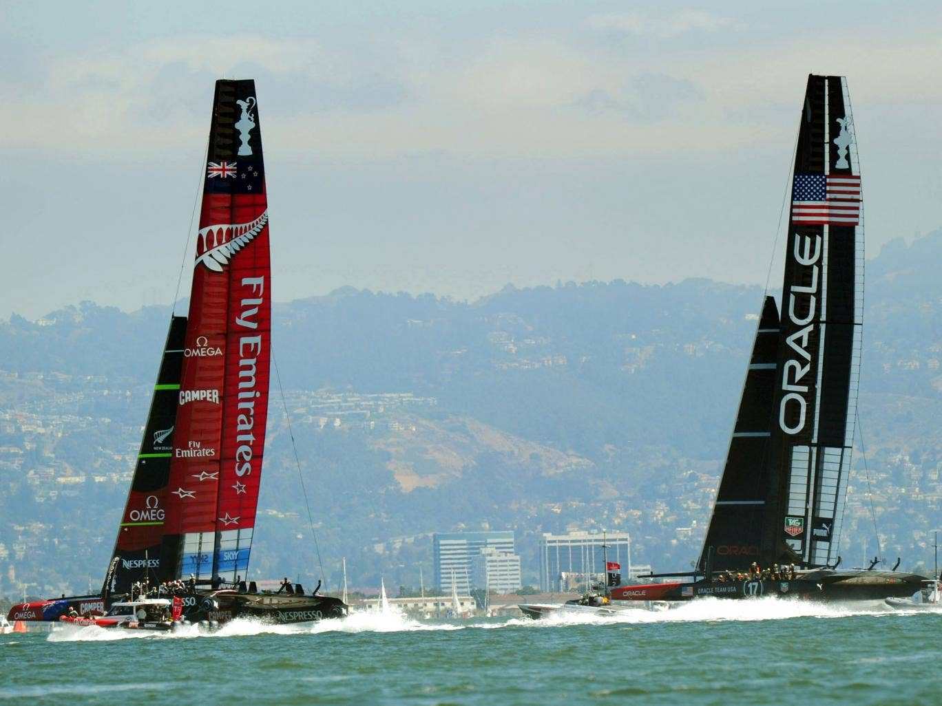 Oracle Team USA races against Emirates Team New Zealand