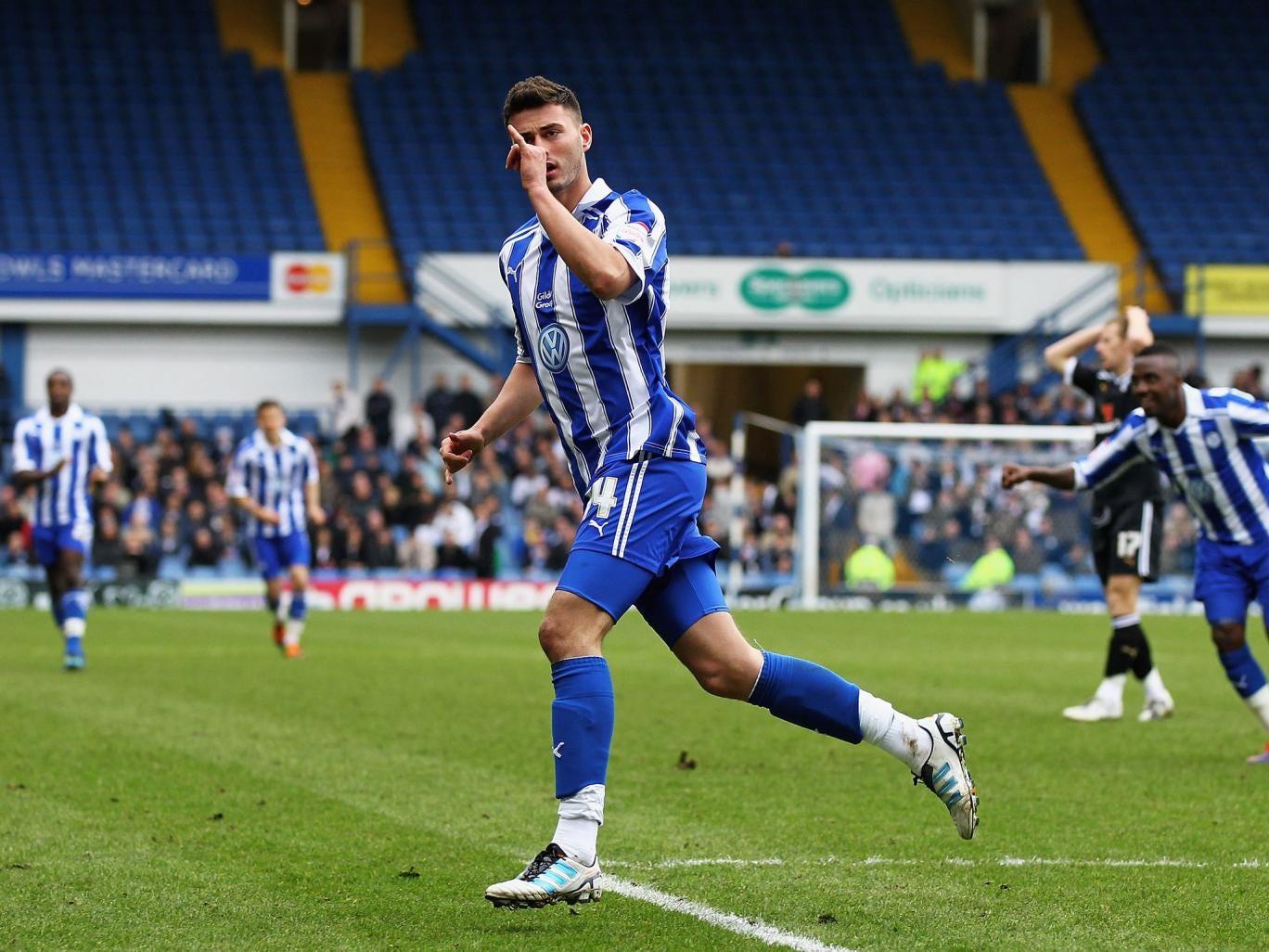 Gary Madine celebrates scoring for Sheffield Wednesday
