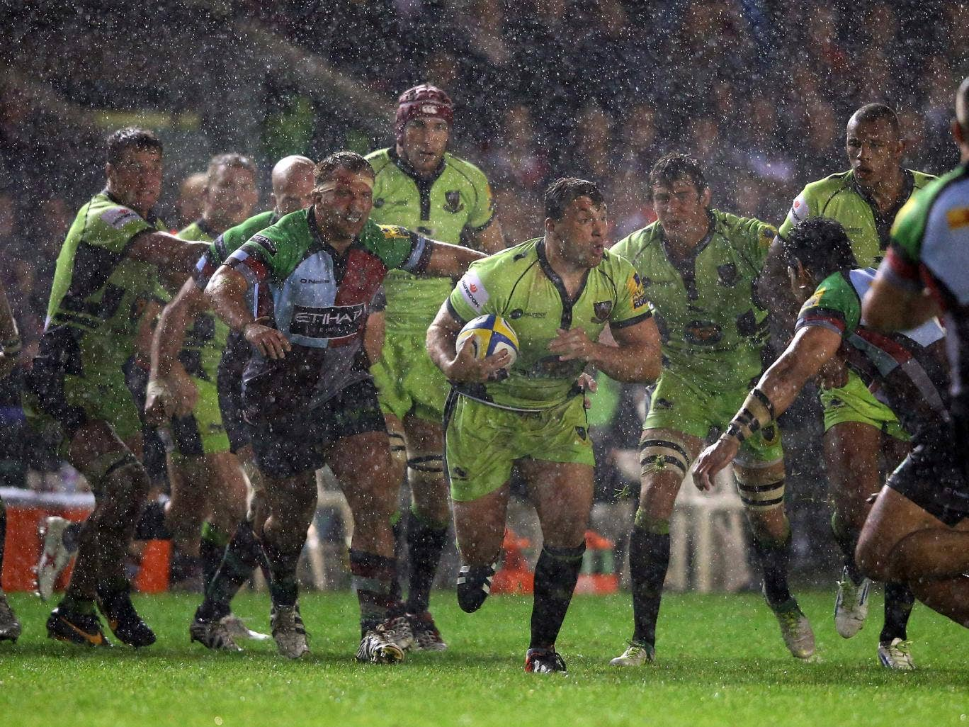Alex Corbisiero in action for Northampton Saints against Harlequins on Friday night