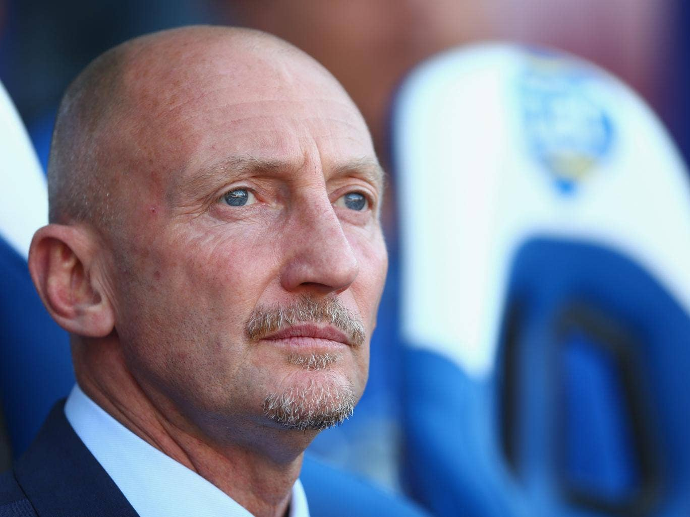 Ian Holloway was forced to watch his side face Manchester United from the stands