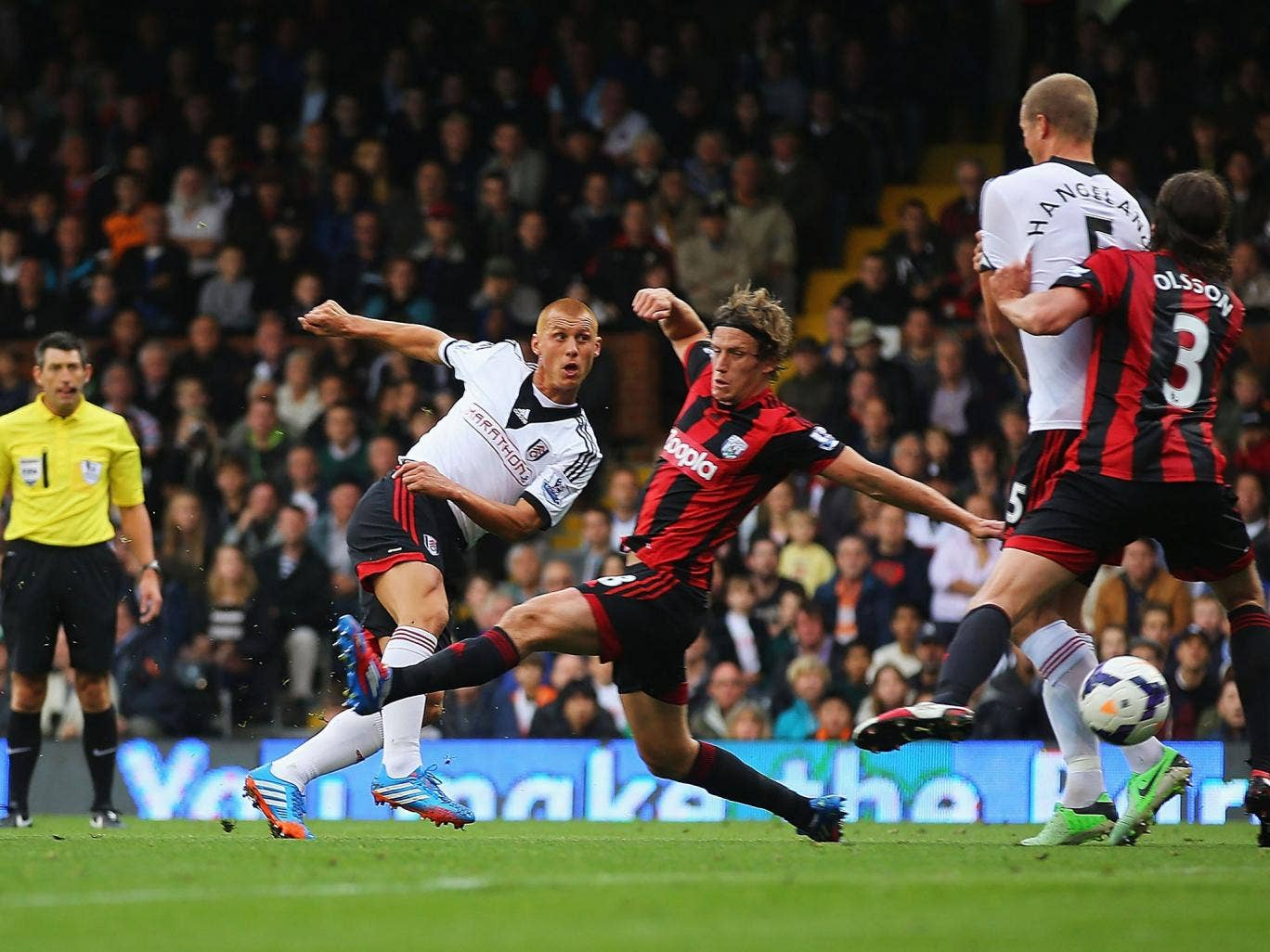 Steve Sidwell opens the scoring for Fulham against West Brom at Craven Cottage