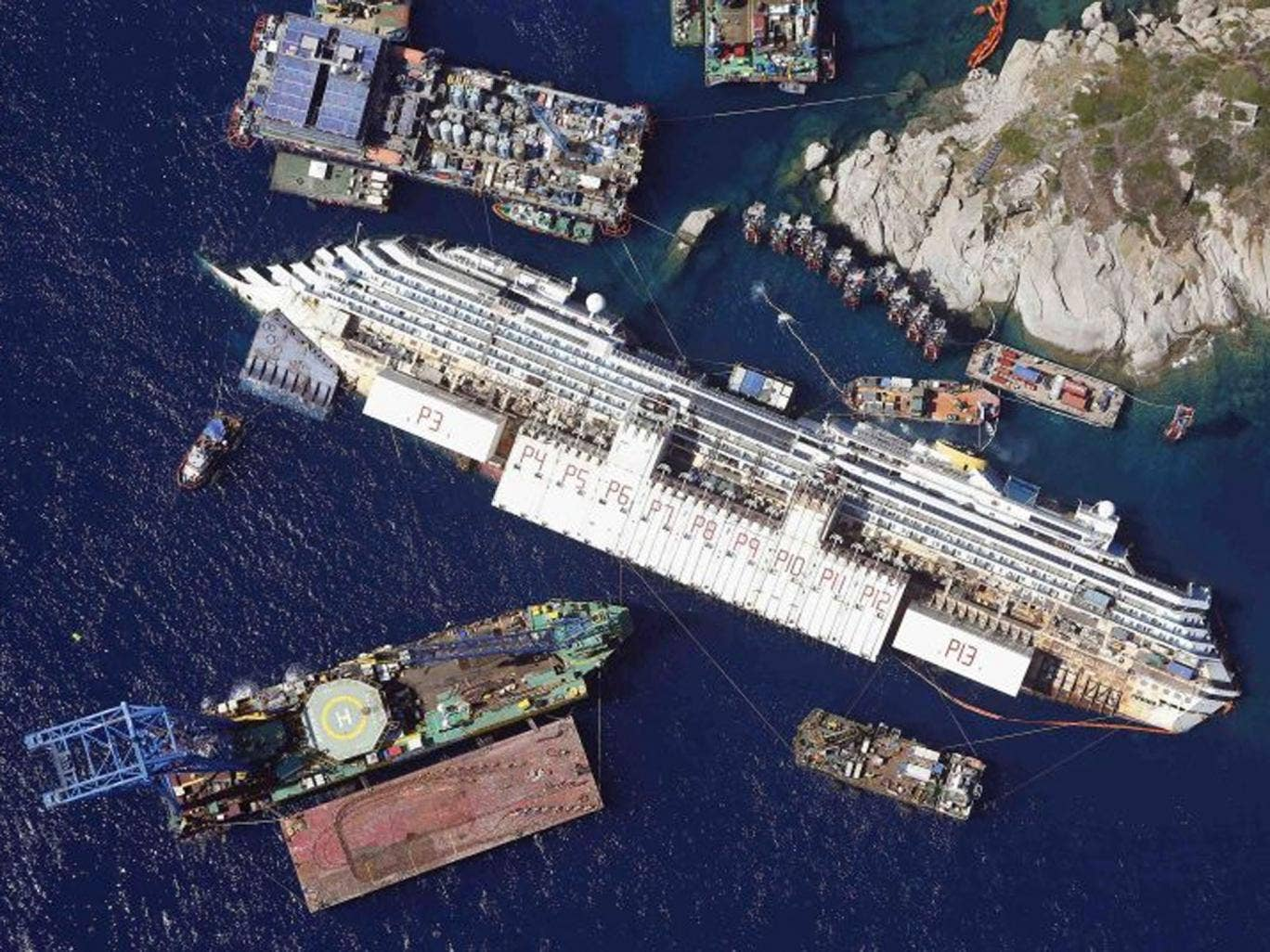 The Costa Concordia, which hit rocks off the shore of Giglio in January 2012