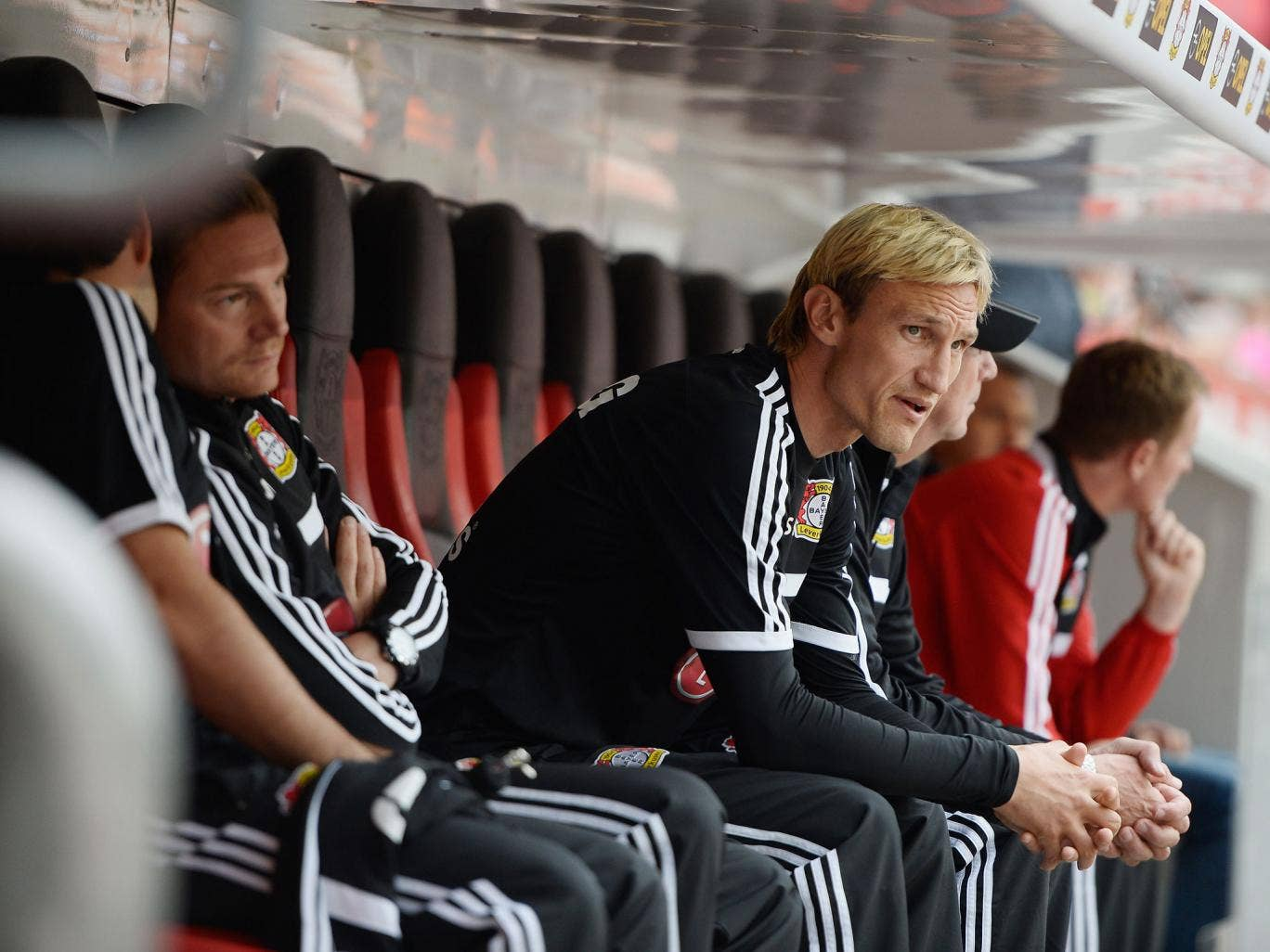Sami Hyypia in the dugout at BayArena, Leverkusen