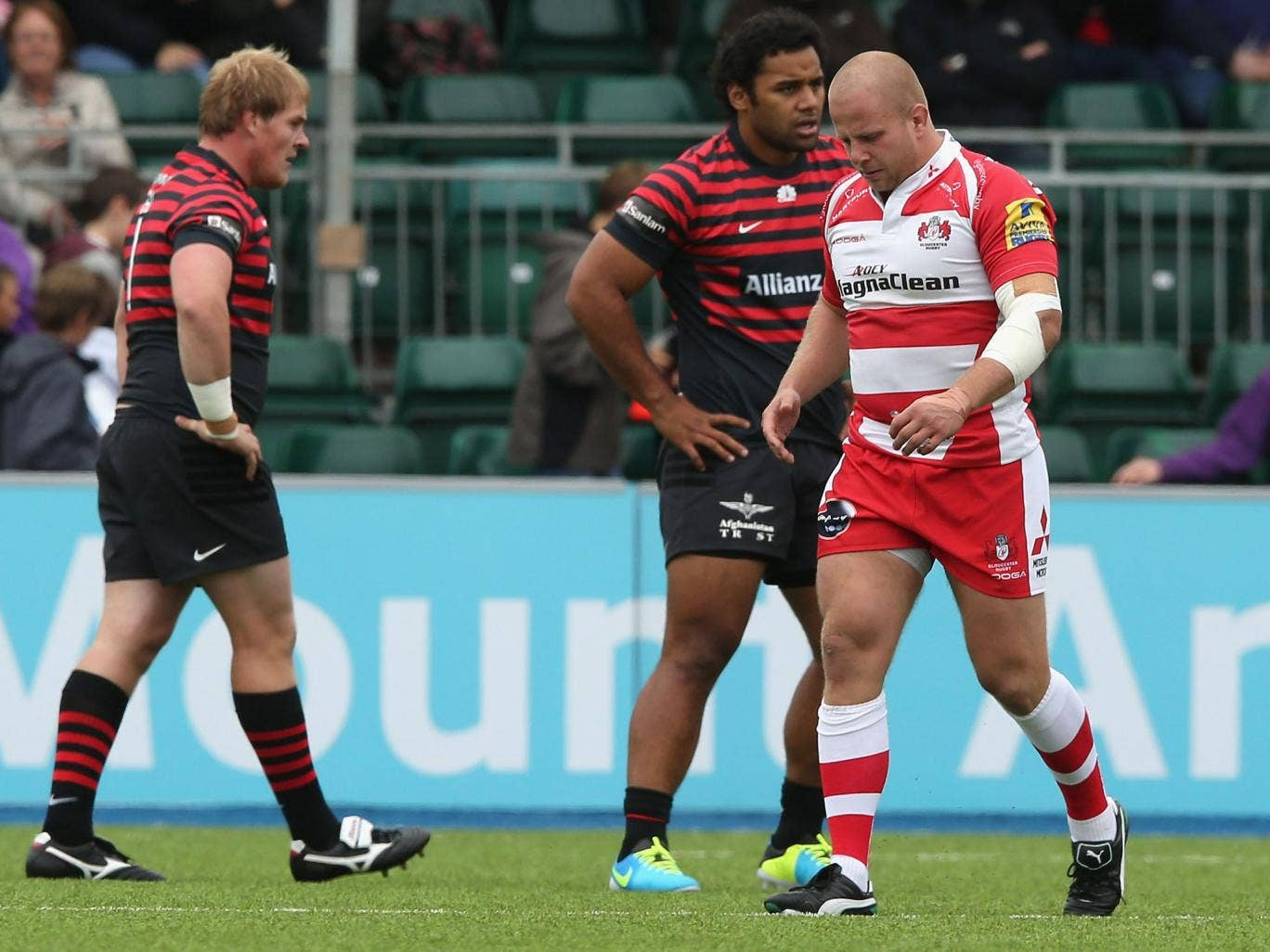 Gloucester prop Nick Wood (right) is sent off for stamping