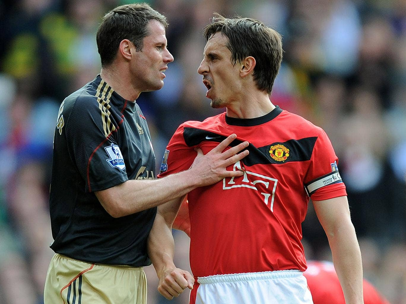 Jamie Carragher and Gary Neville during their Premier League days