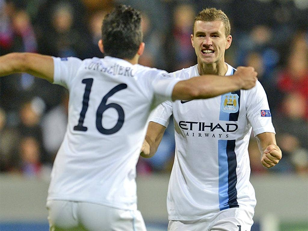 Aguero and Dzeko were both on the score sheet for City