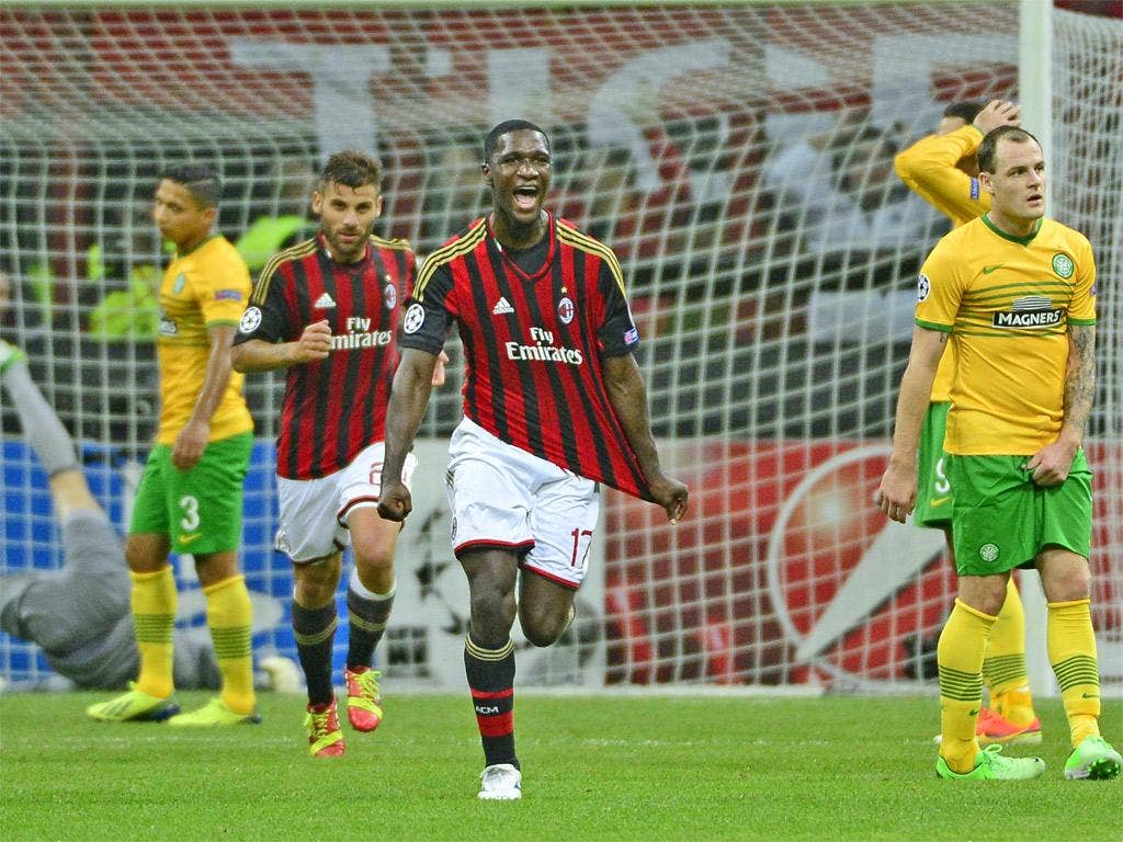Milan's Colombian defender Cristian Zapata celebrates his goal