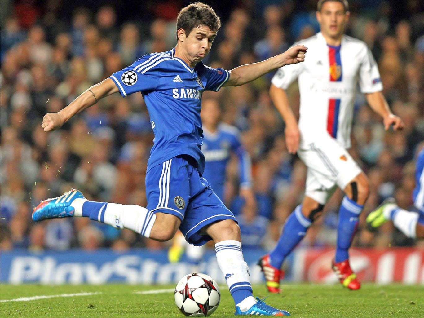 Oscar strikes to give Chelsea the lead on the stroke of half-time