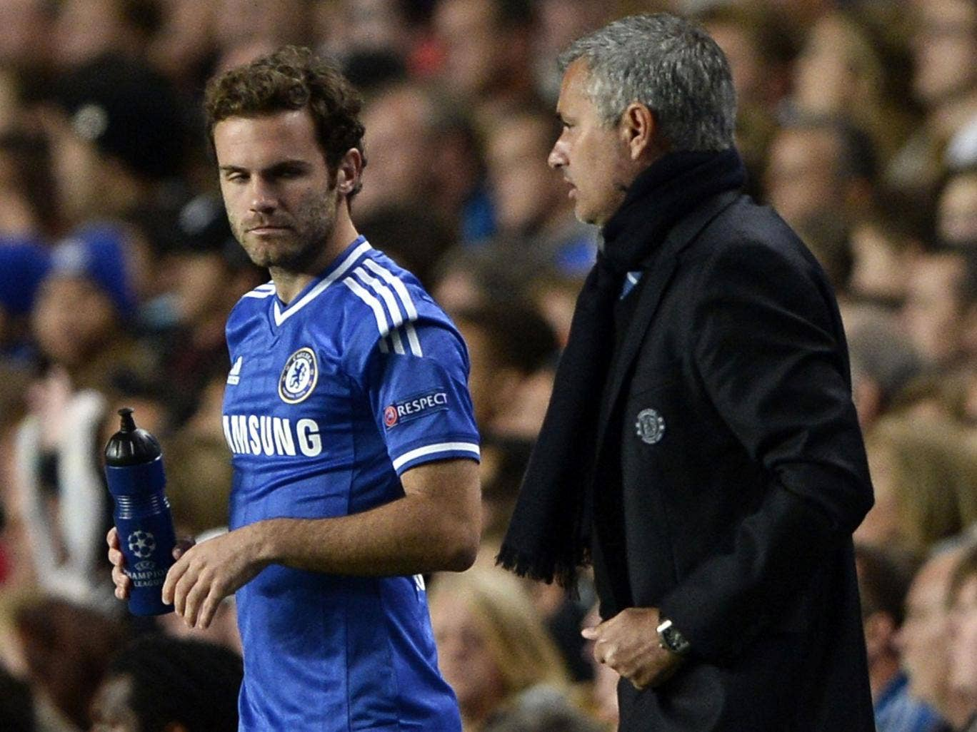 Jose Mourinho ushers substitute Juan Mata on to the pitch on Wednesday