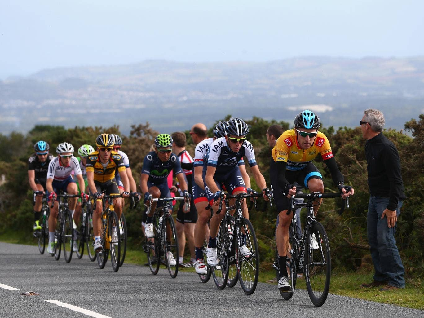 Sir Bradley Wiggins leads from the front on the final kilometre of Stage Six on the Tour de Britain