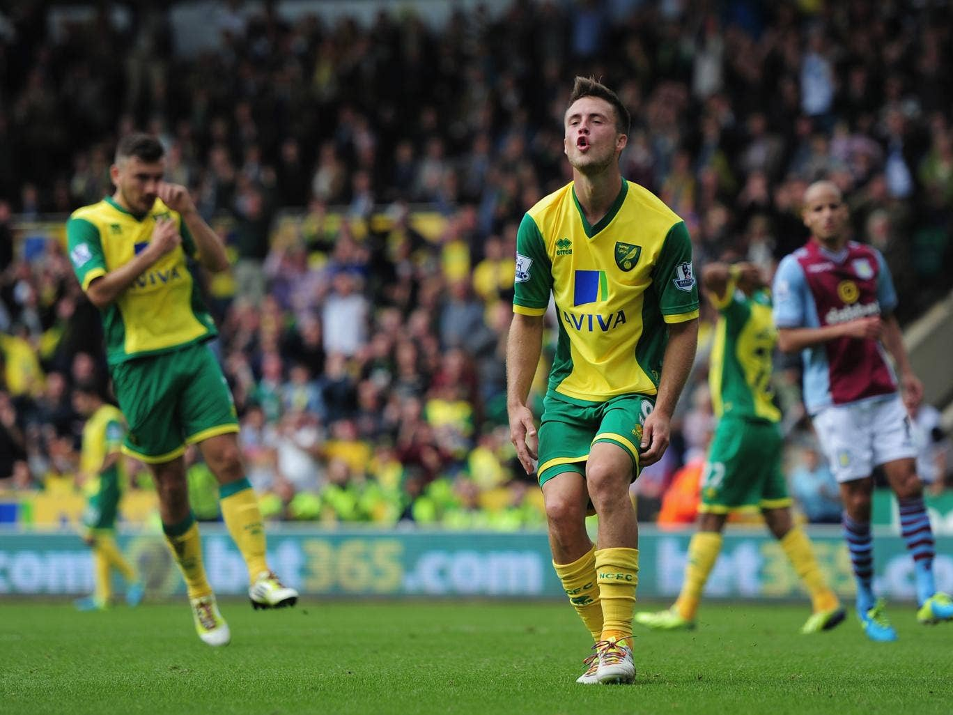 Ricky van Wolfswinkel missed a first-half penalty for Norwich
