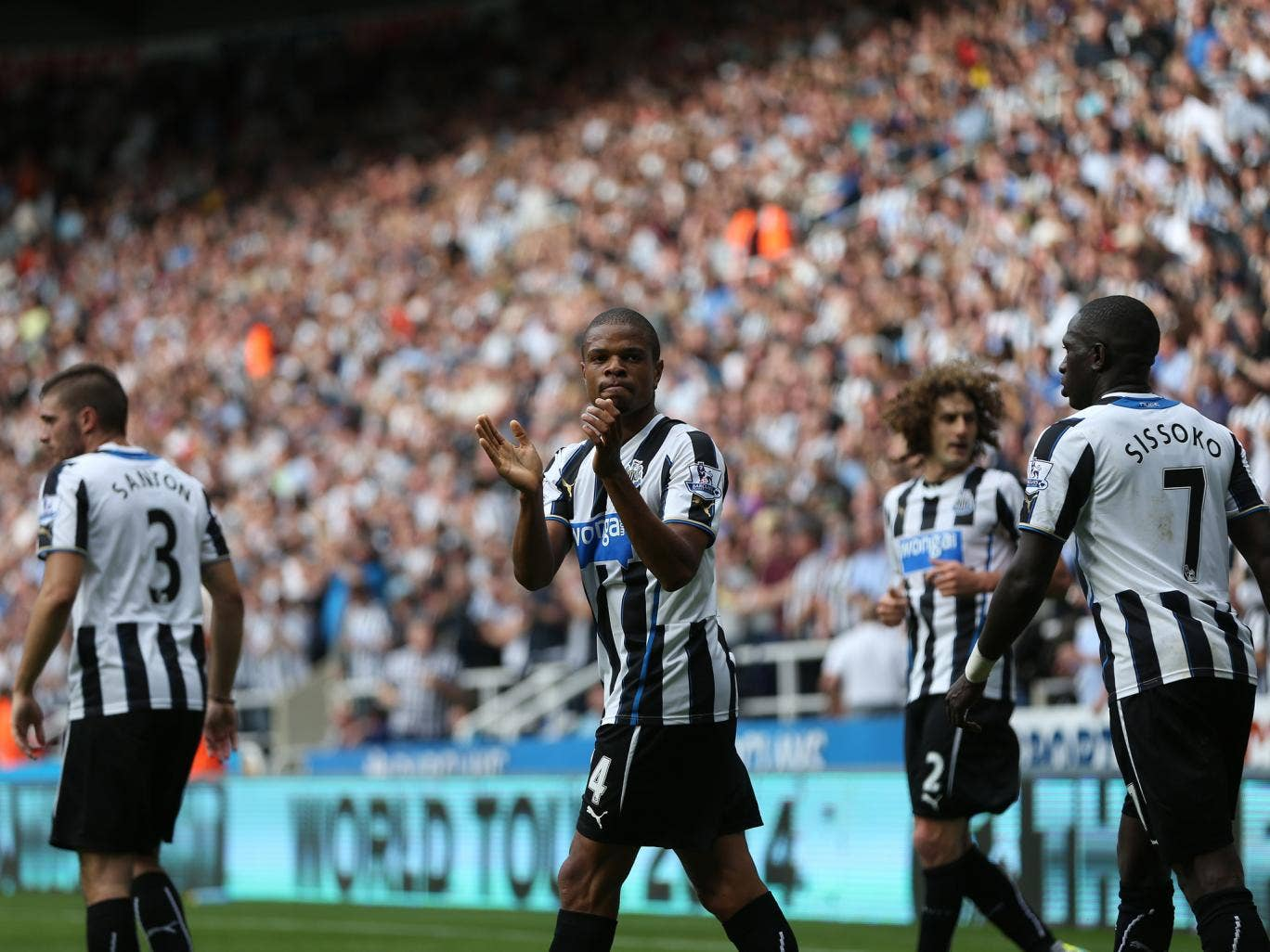 Loic Remy celebrates scoring for Newcastle
