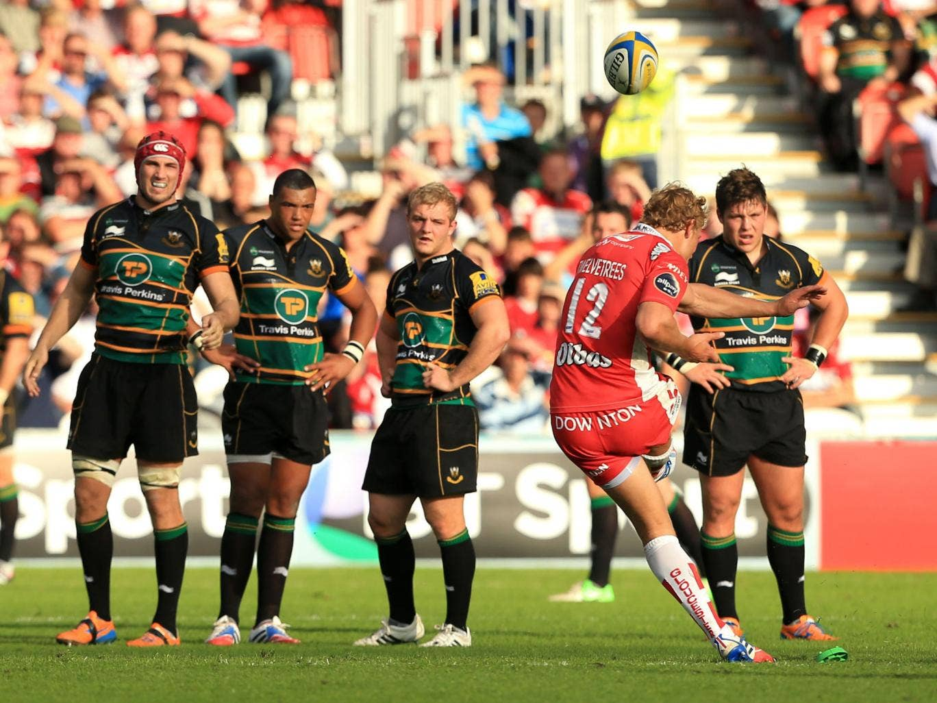 Boot polish: Billy Twelvetrees lands a penalty with the last kick of the match