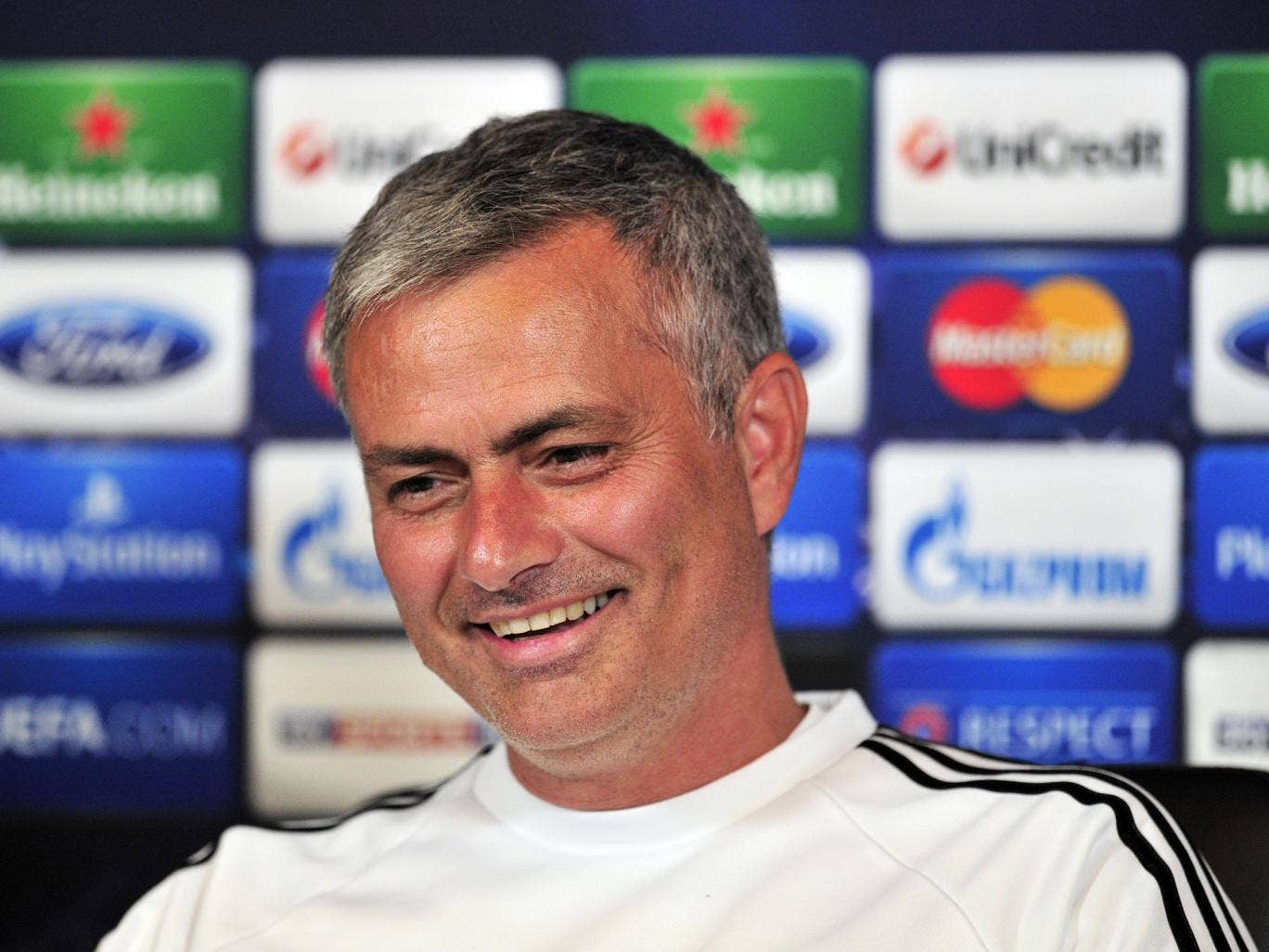 Jose Mourinho speaks during a Chelsea press conference
