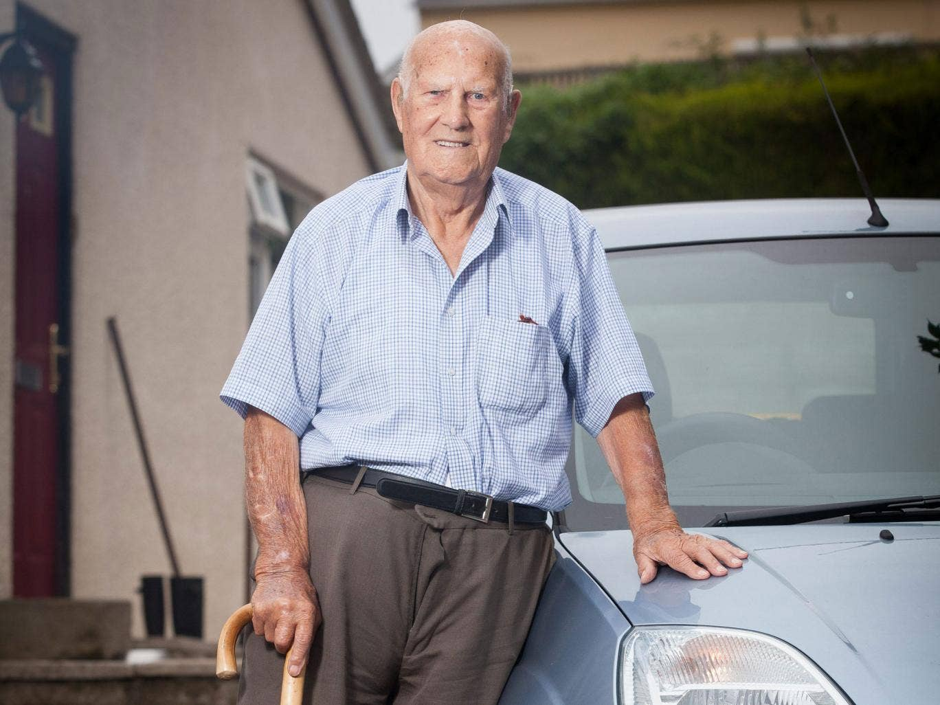 Les Hale, 100, one of Britain's centenarian car drivers, photographed at home in Lydbrook, Gloucestershire